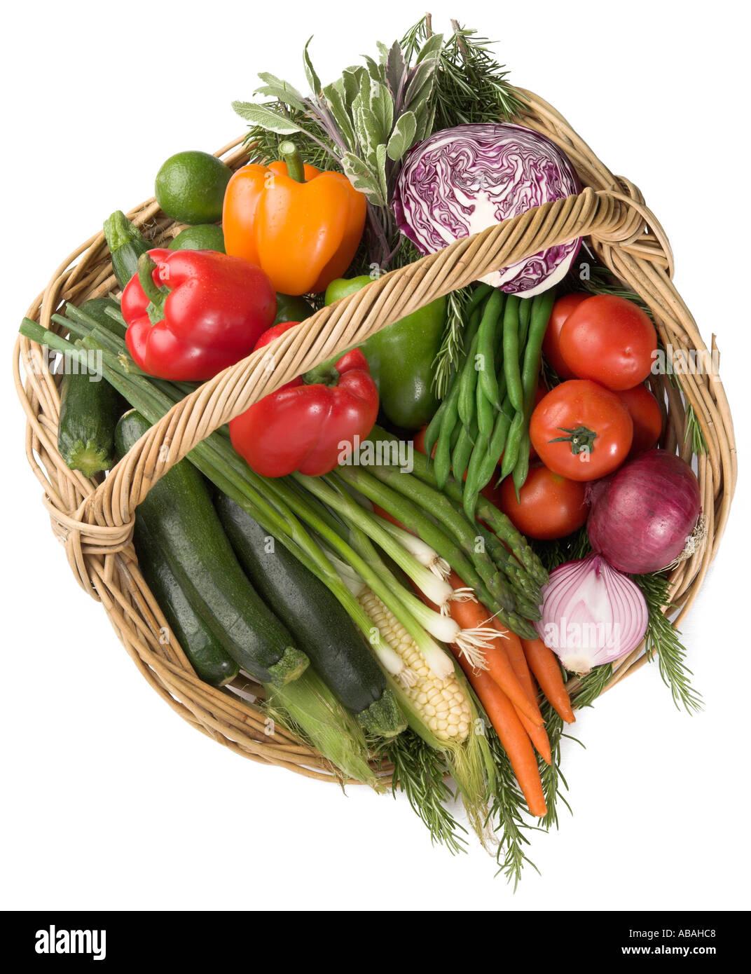 Cornucopia of Vegetables in a basket - Stock Image