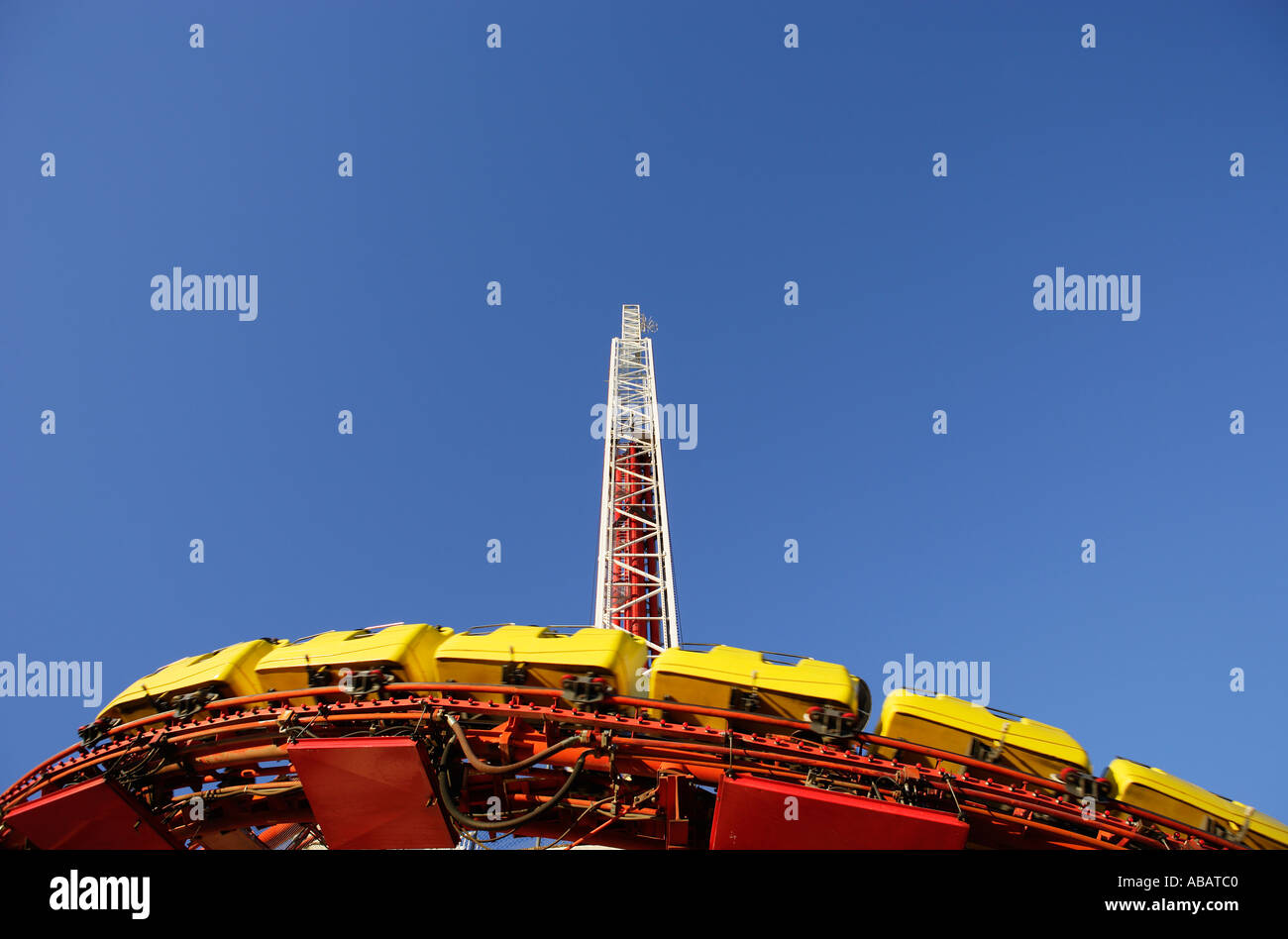 Las Vegas The High Roller and Big Shot rides on The Stratosphere Hotel Casino - Stock Image
