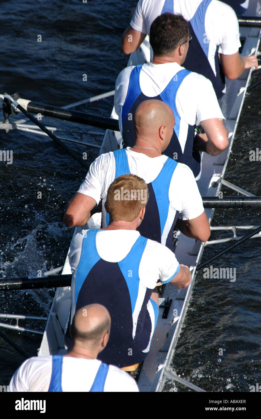 Rowing team rowing ahead ahead during a boat race on the River Vltava in Prague, Czech Republic, on September 24, - Stock Image