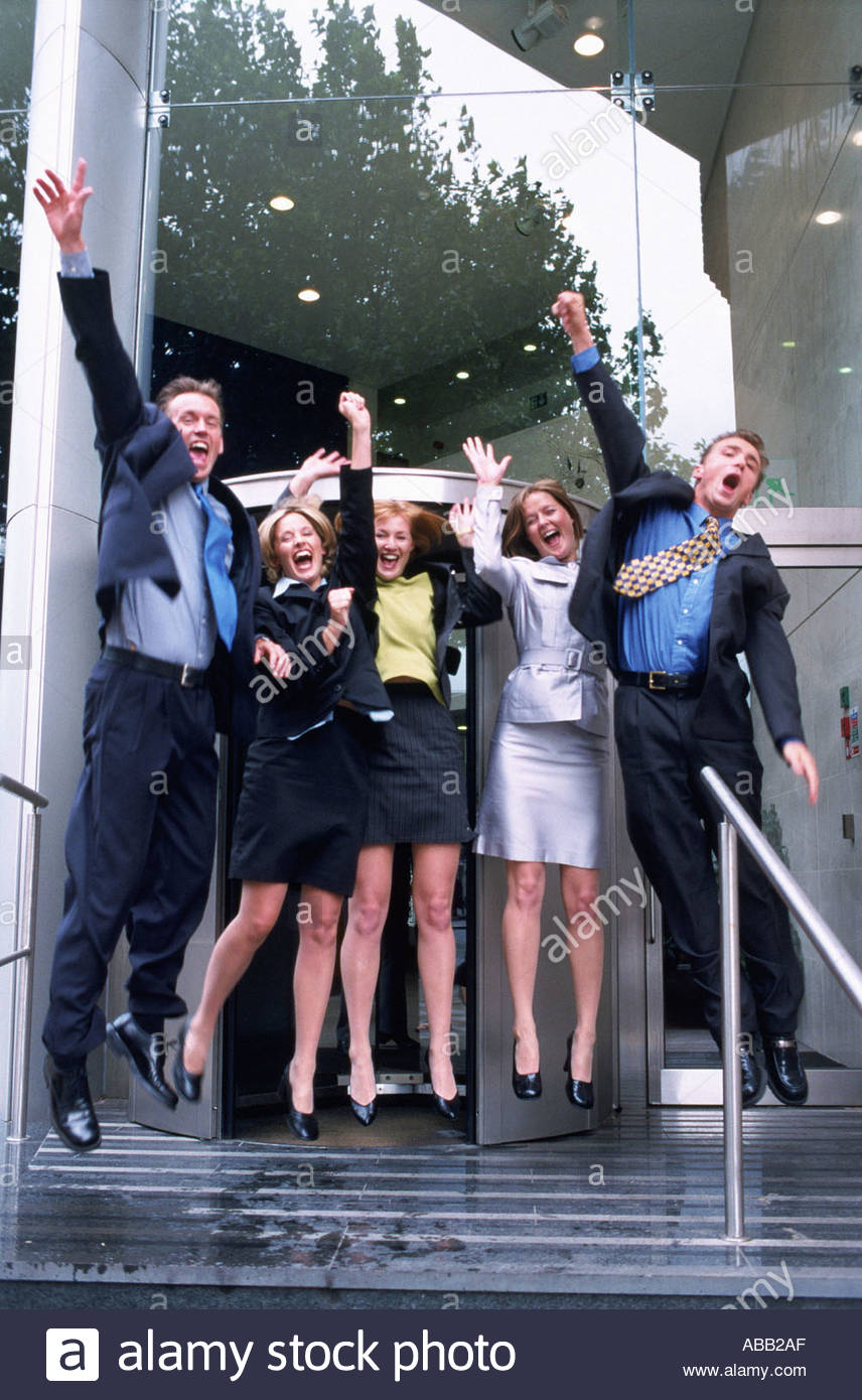 Business team rejoicing - Stock Image