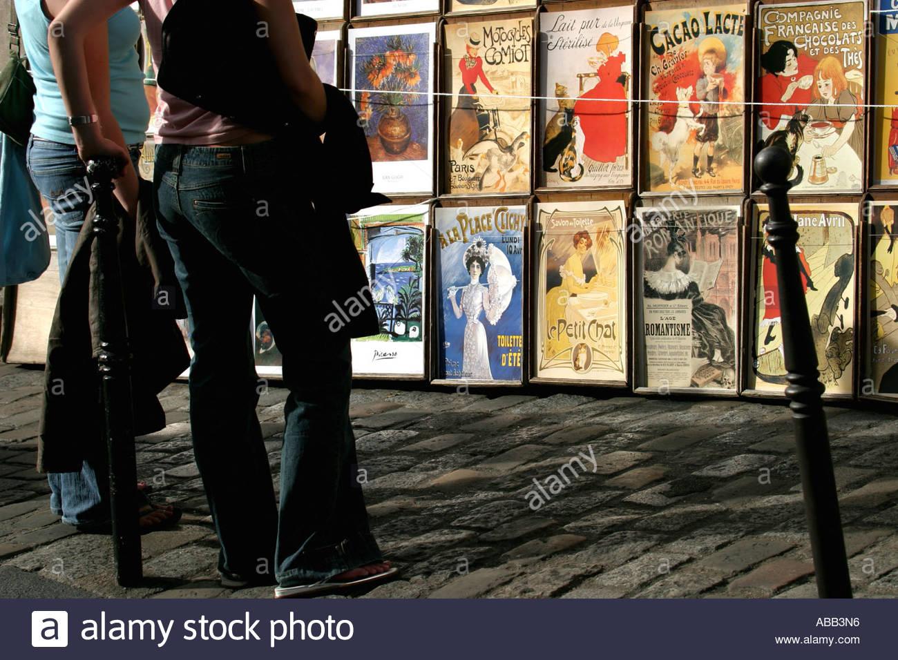 Paris, Montmartre, Copies Old Parisian Posters - Stock Image