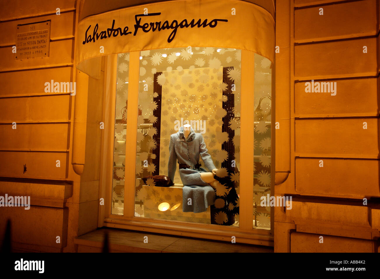 Paris, Salvatore Ferragamo Shop Front - Stock Image