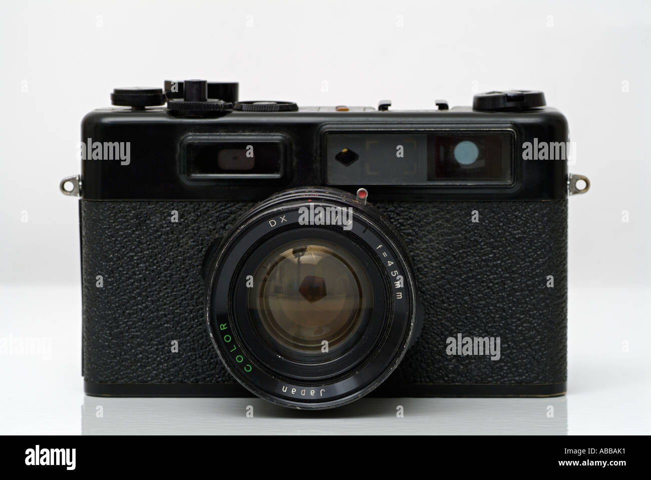 Camera Traditional 35mm Rangefinder Camera Against a White Background - Stock Image