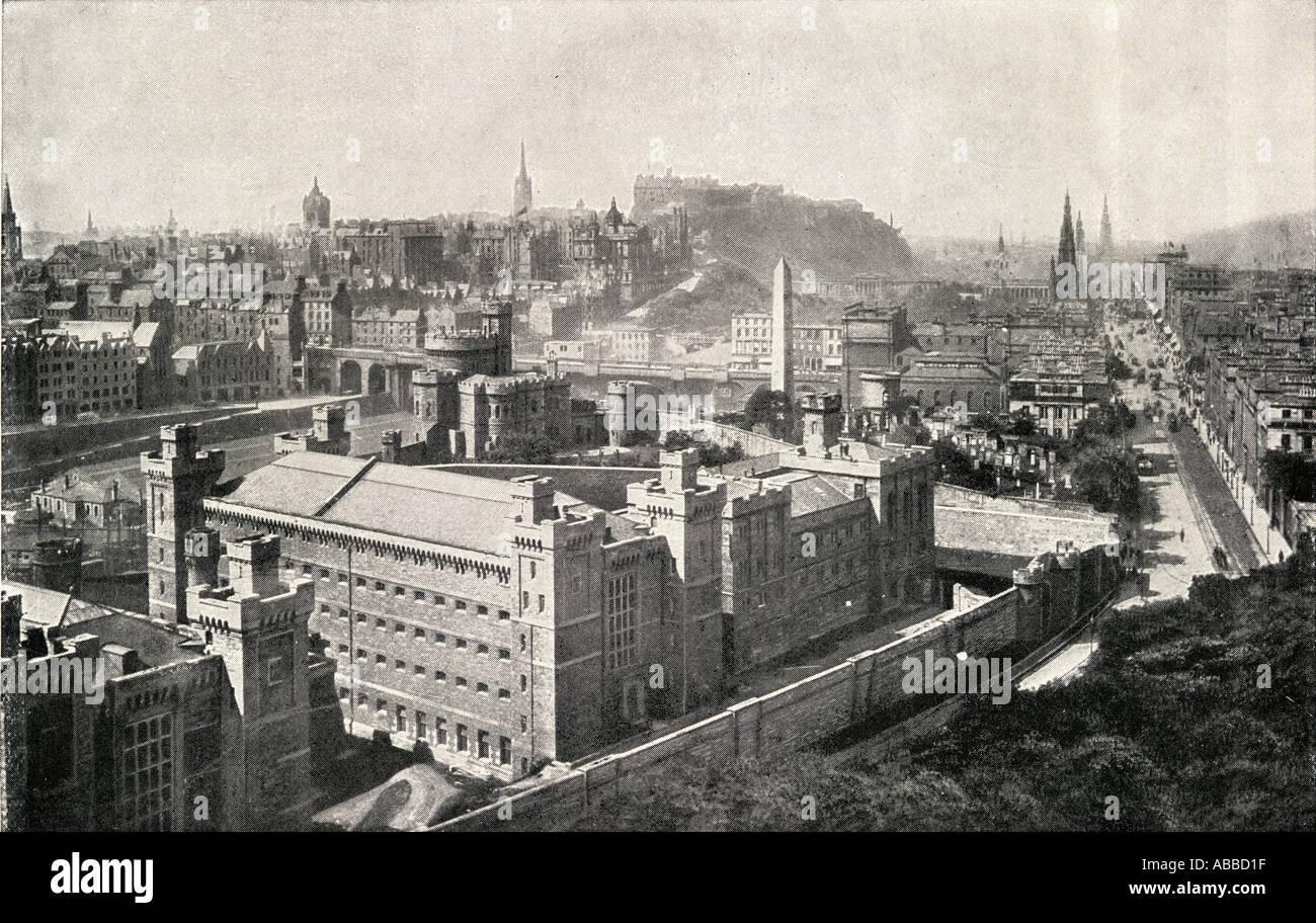 A view of Edinburgh, Scotland in 1842. - Stock Image