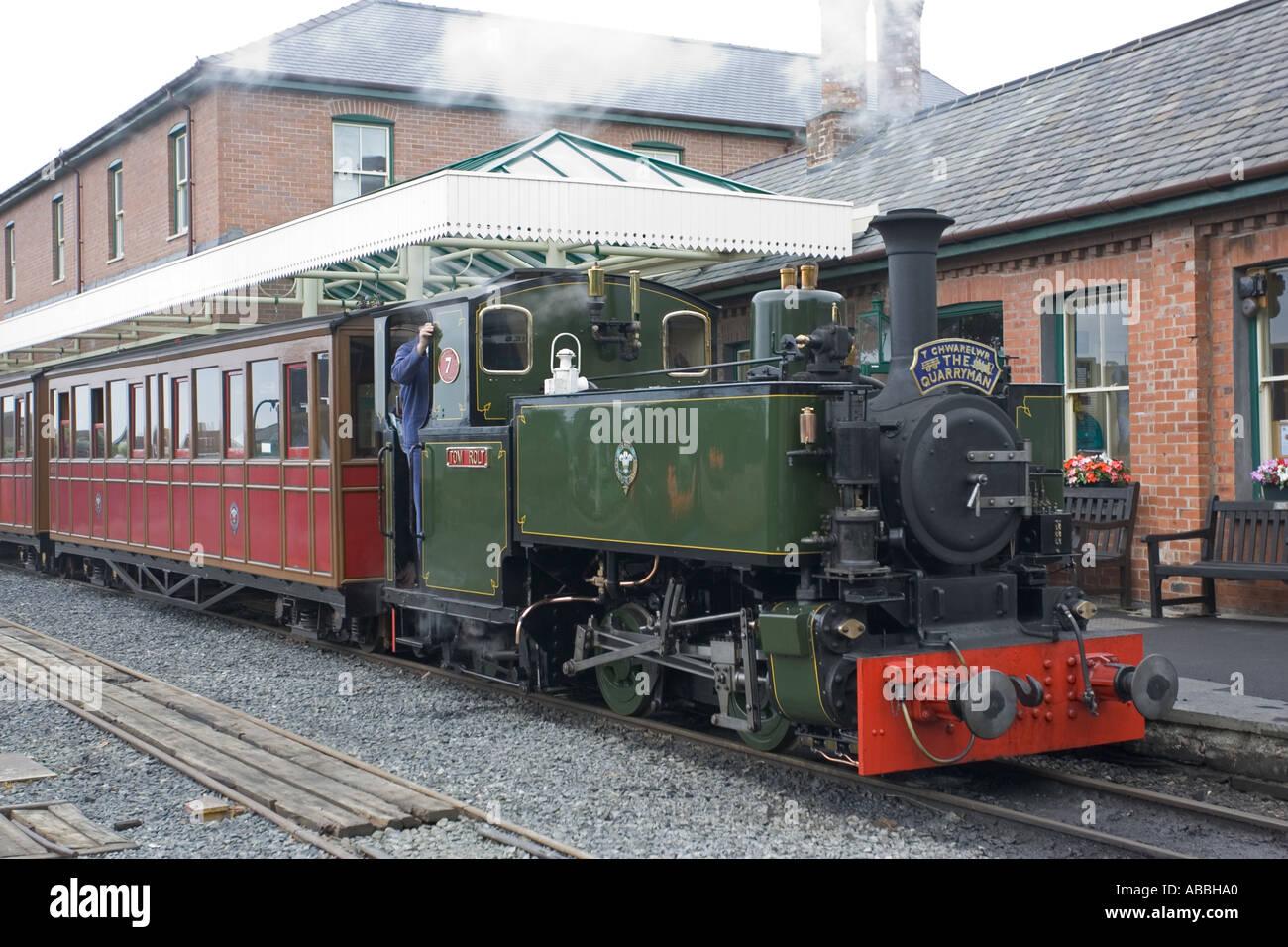 The Quarryman train at Tywyn Station on Talyllyn Narrow gauge railway North Wales UK - Stock Image