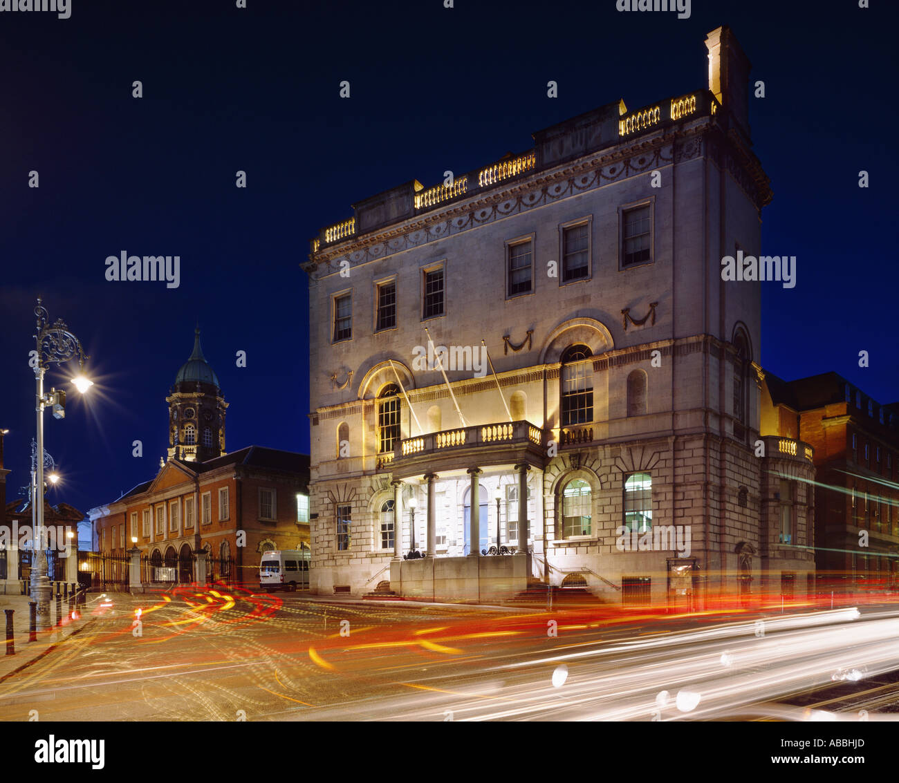 at castle street Dublin with rates office at night  and dublin castle in backround2006 - Stock Image
