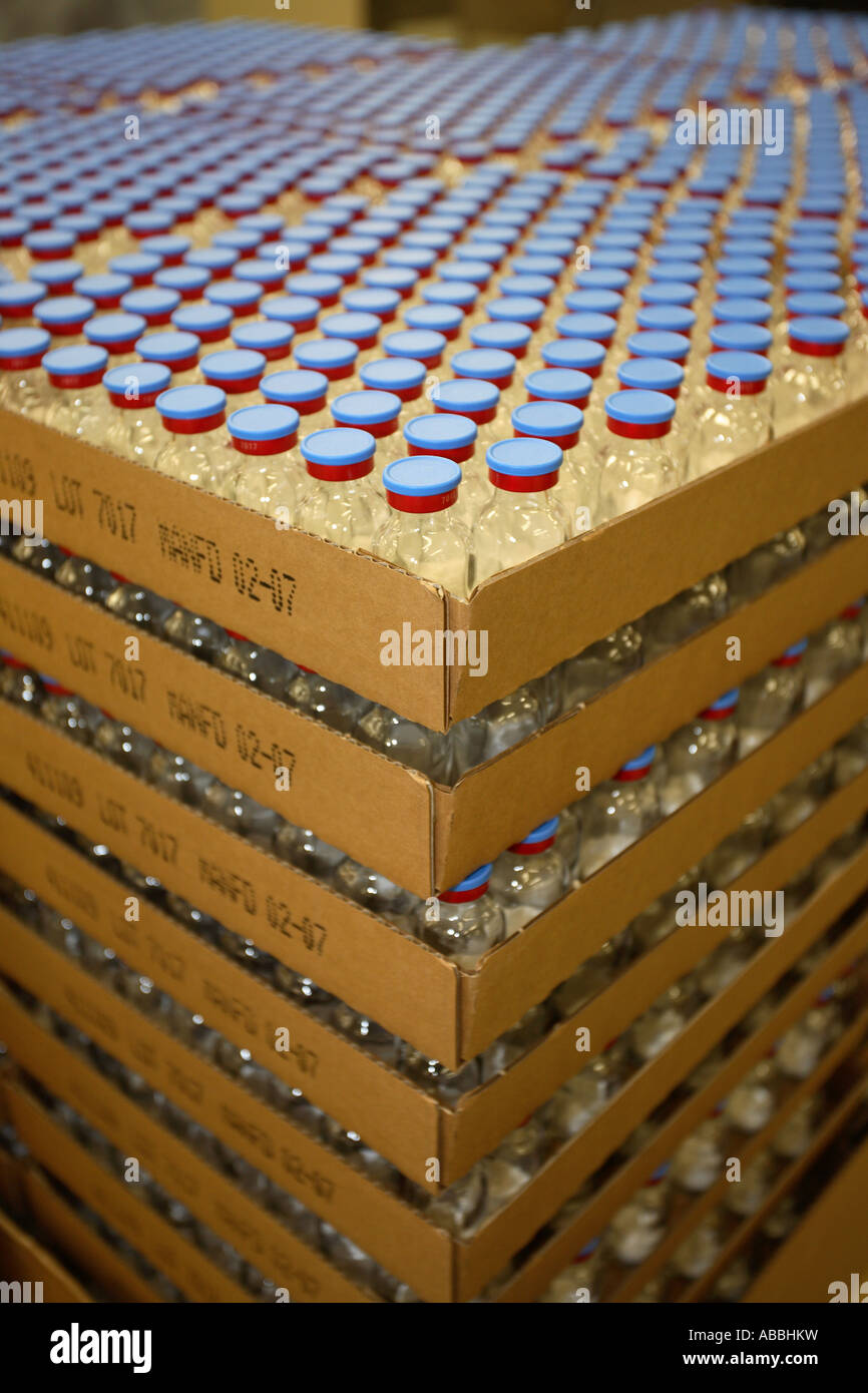 mass production of vials on a factory assembly line - Stock Image
