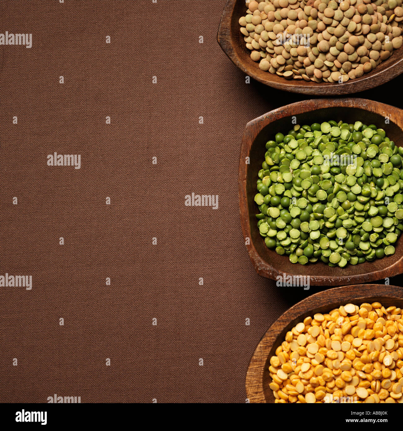 Different Colored Lentils Lens Culinaris - Stock Image