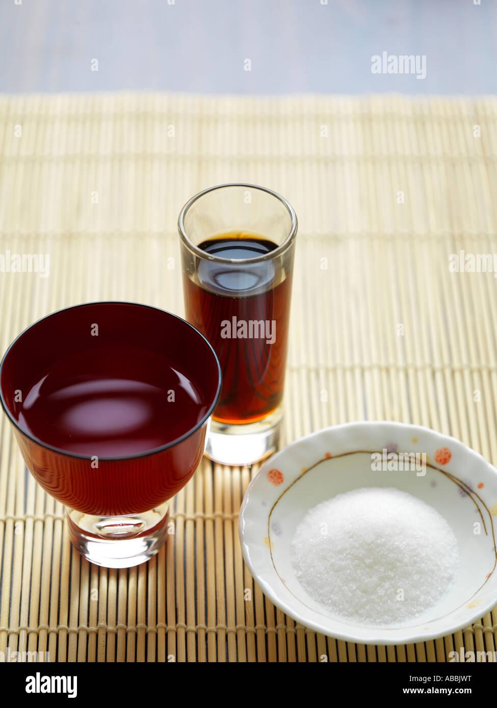 Sugar Soy Sauce Sake Japanese - Stock Image