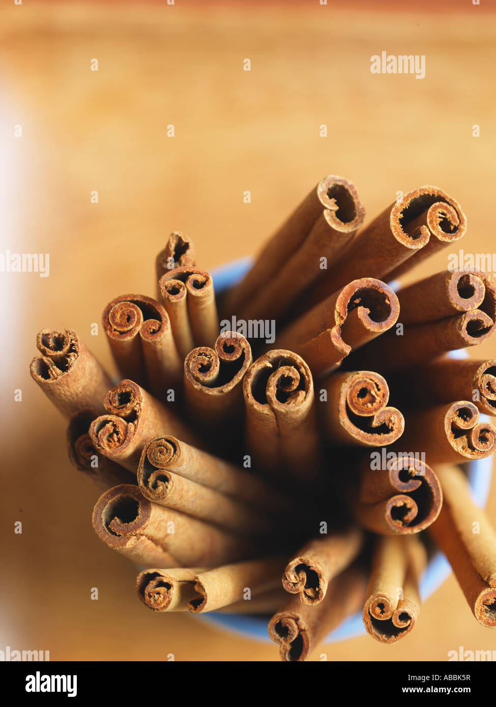 Cinnamon Sticks from above - Stock Image
