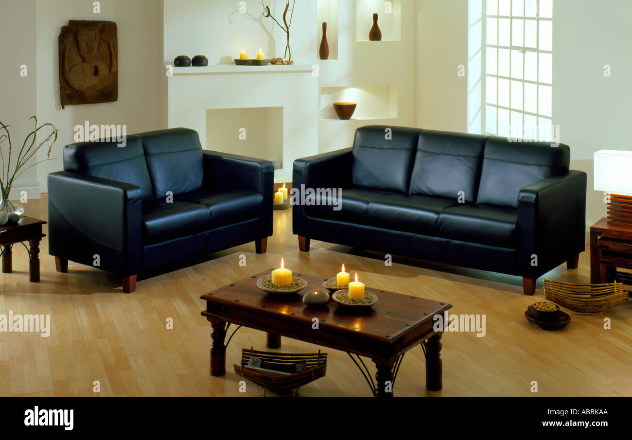Living room with leather sofas Stock Photo: 4192169 - Alamy
