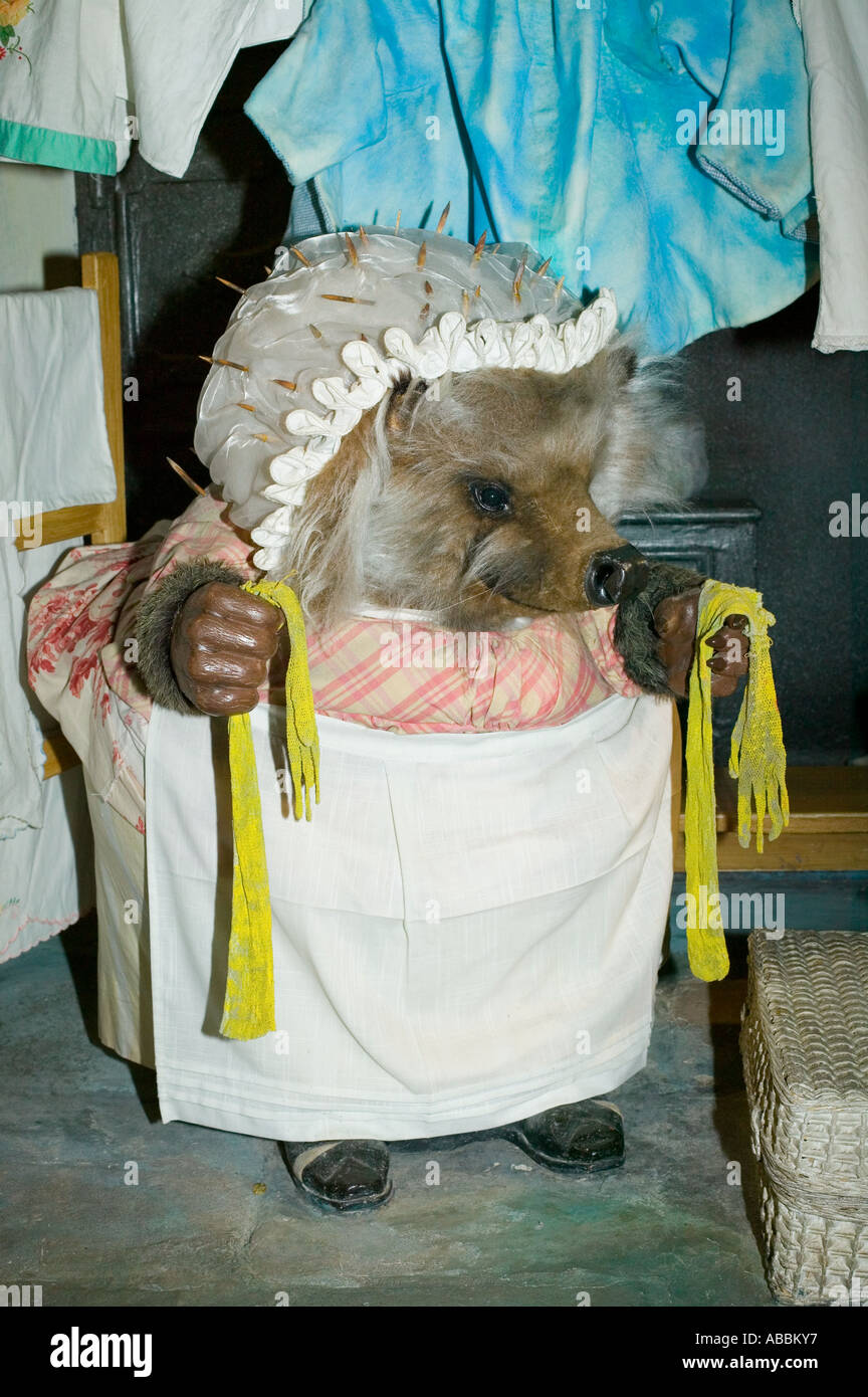 Mrs Tiggy-Winkle at the World of Beatrix Potter Museum in Bowness on windermere, Lake District, Cumbria, UK - Stock Image