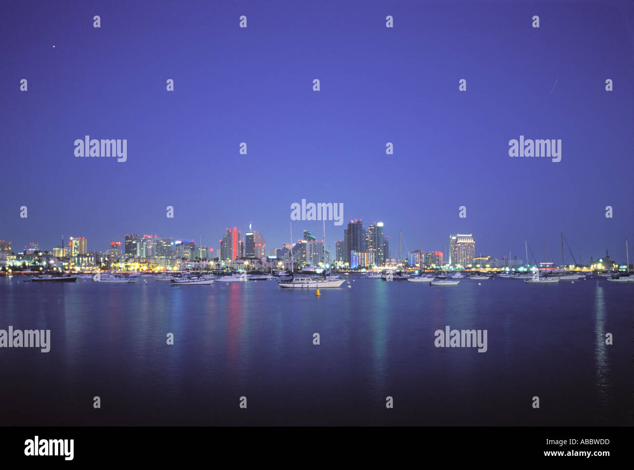 Sailboats in San Diego Bay Downtown San Diego California SD - Stock Image