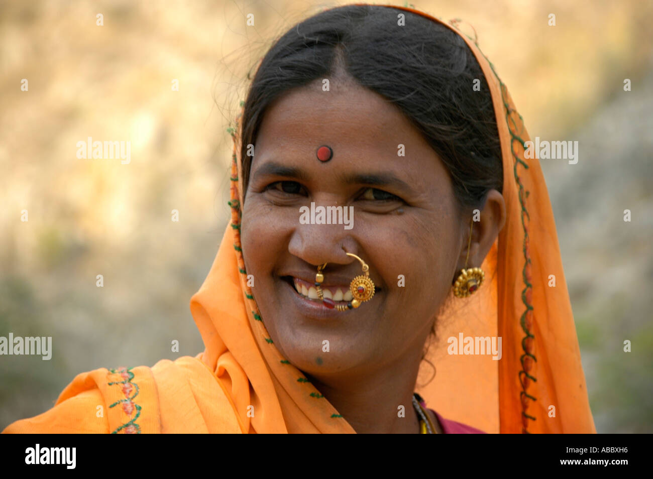 Portrait Of An Indian Women With Nose Ring And Juwelry Wearing