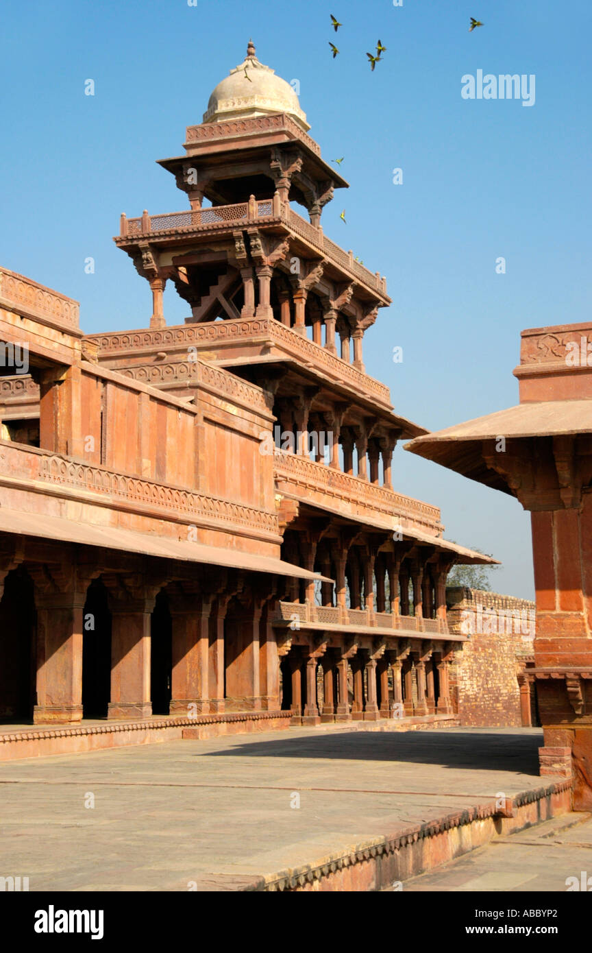 Light built tower made of many pillars in Indian style Akbar Fort Fatehpur Sikri Uttar Pradesh India - Stock Image