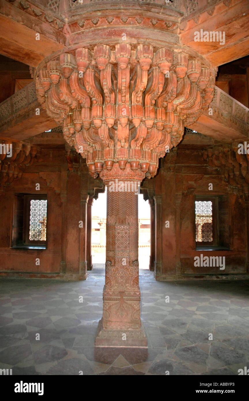 Big ornamented pillar in Indian style Akbar Fort Fatehpur Sikri Uttar Pradesh India - Stock Image