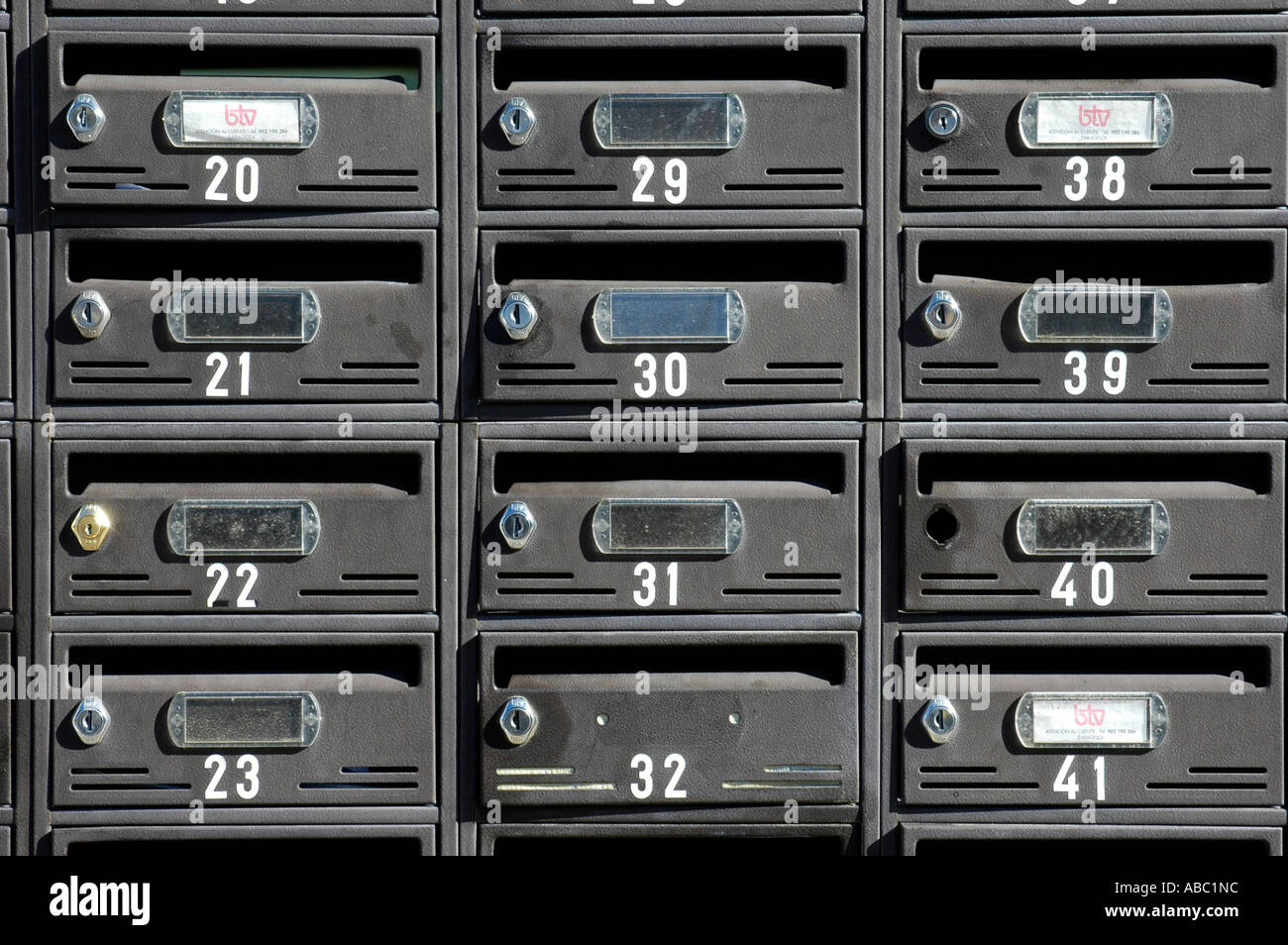 Many letterboxes mailboxes with numbers, settlement, Altea, Costa Blanca, Spain - Stock Image