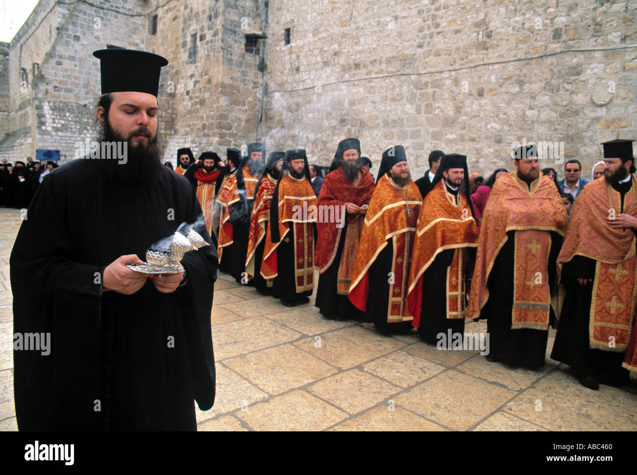 Orthodox Christmas Procession Bethlehem 2020 Greek Orthodox Christmas procession, Bethlehem, Israel Stock Photo