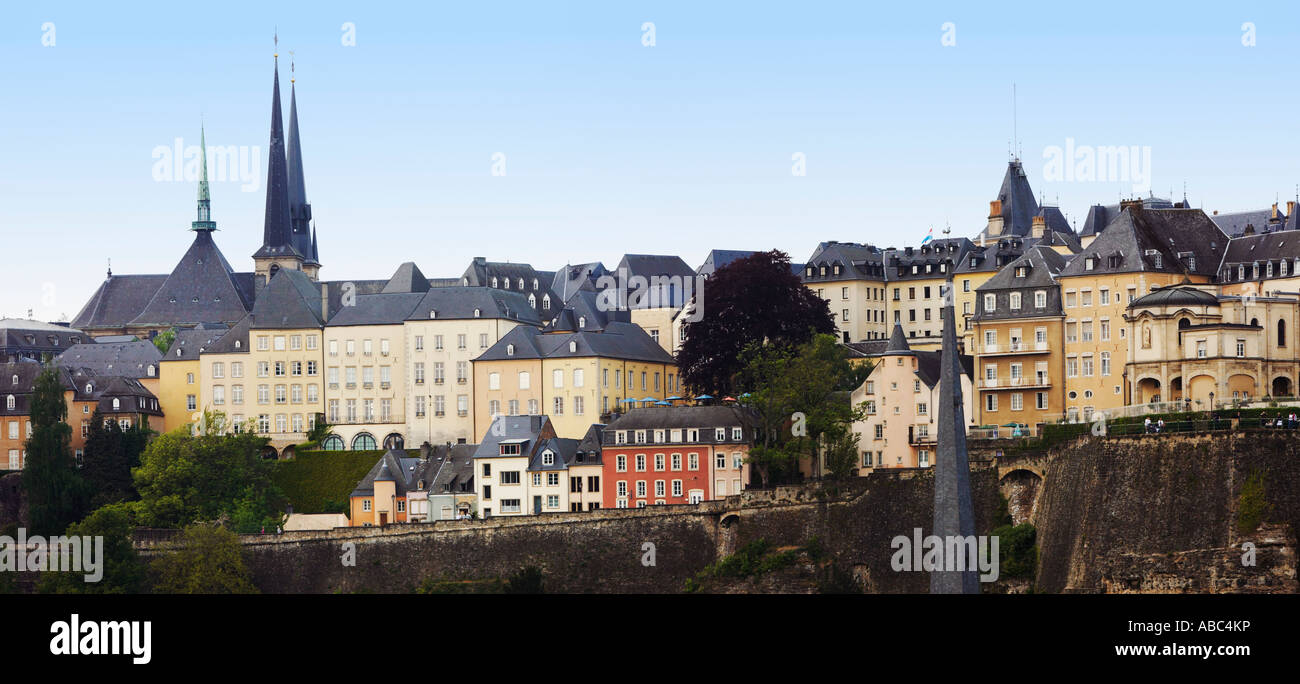 Luxembourg City, Luxembourg, Europe with the Notre Dame cathedral on the skyline - Stock Image