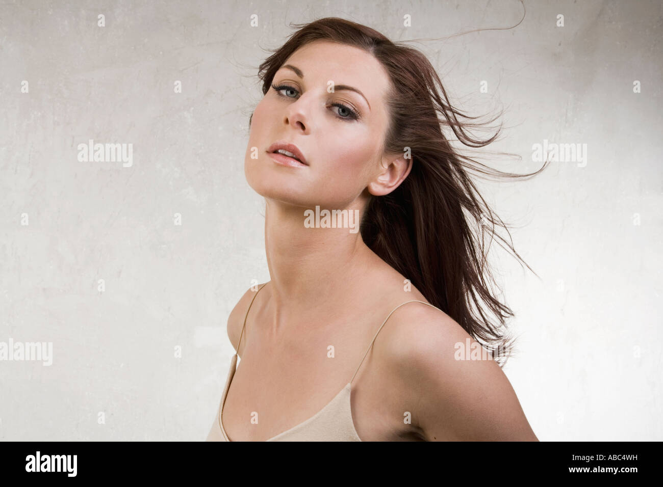 headshot of lascivious young woman - Stock Image