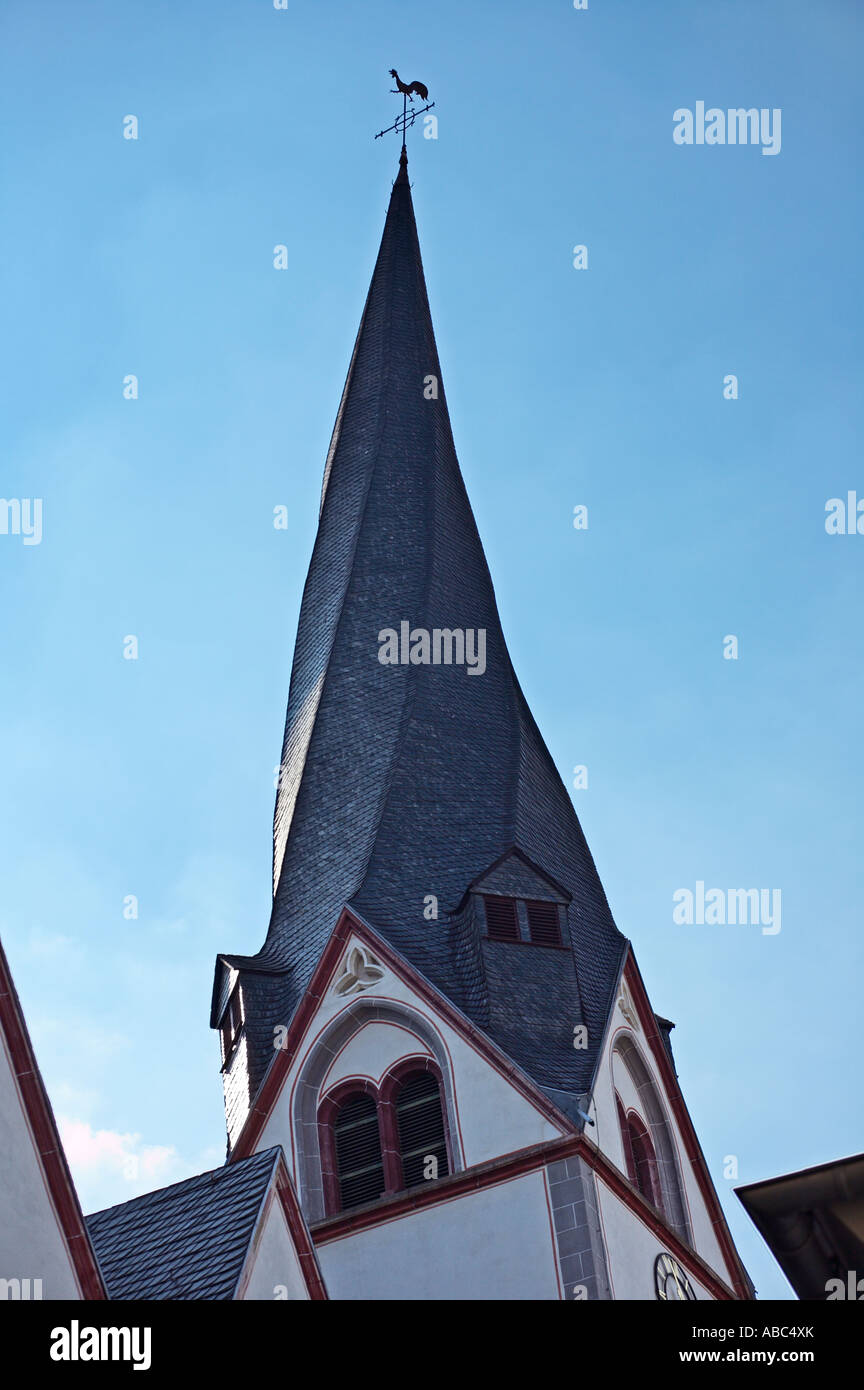 Twisted spire of St Clemens church Mayen Germany - Stock Image