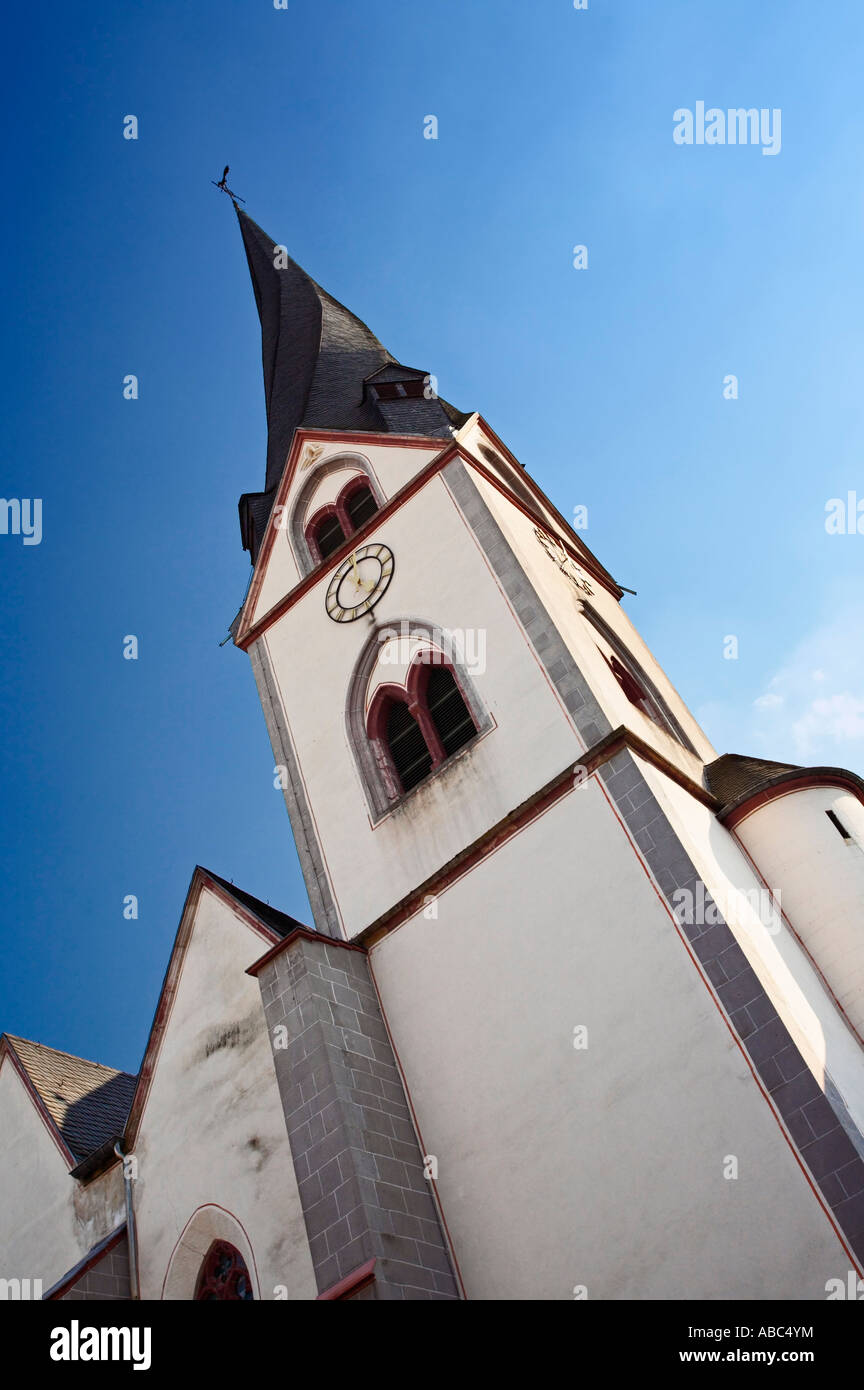 St Clemens church Mayen Germany with its twisted spire - Stock Image