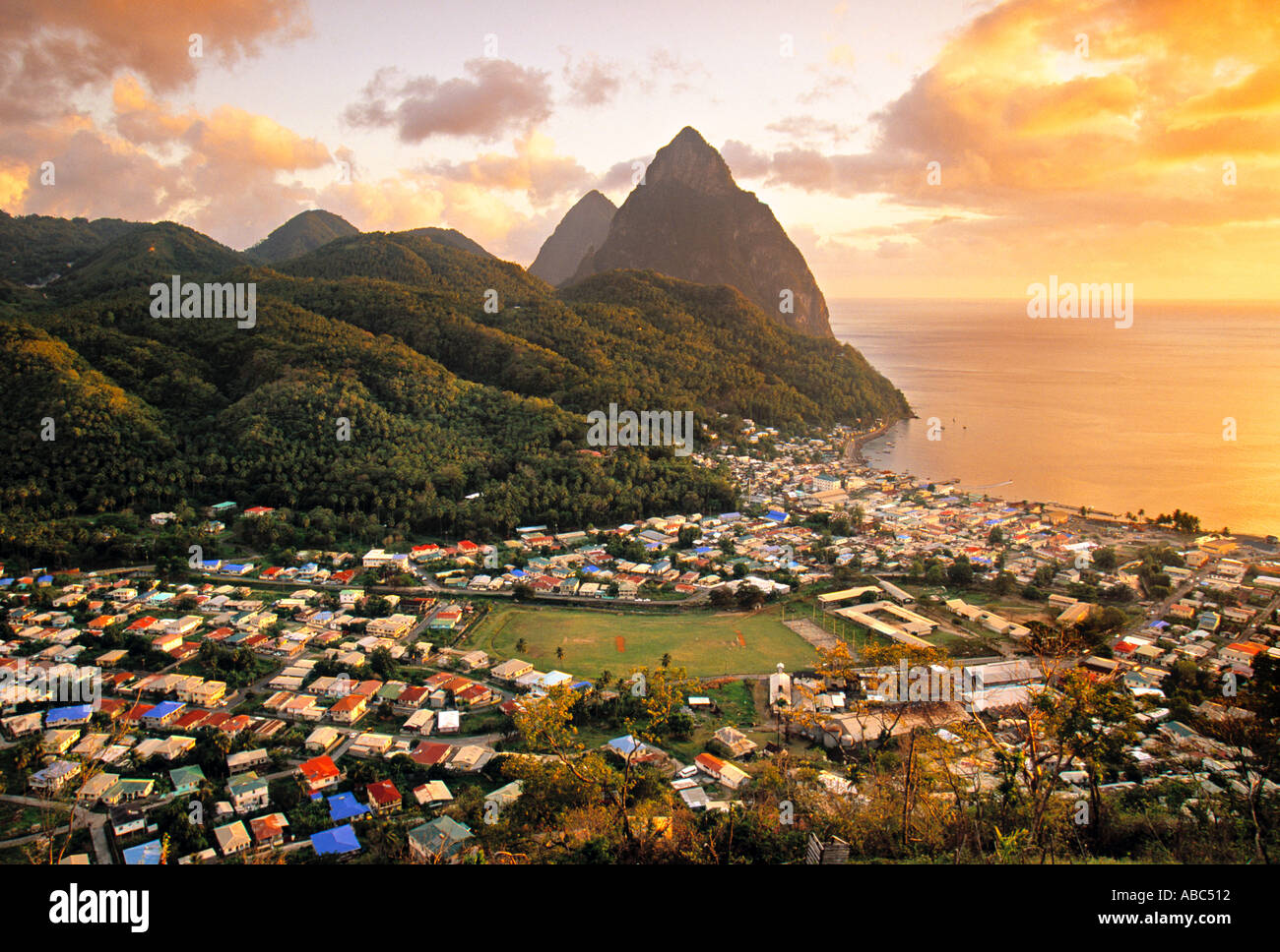 Pitons and Soufrierre, St. Lucia, Caribbean - Stock Image