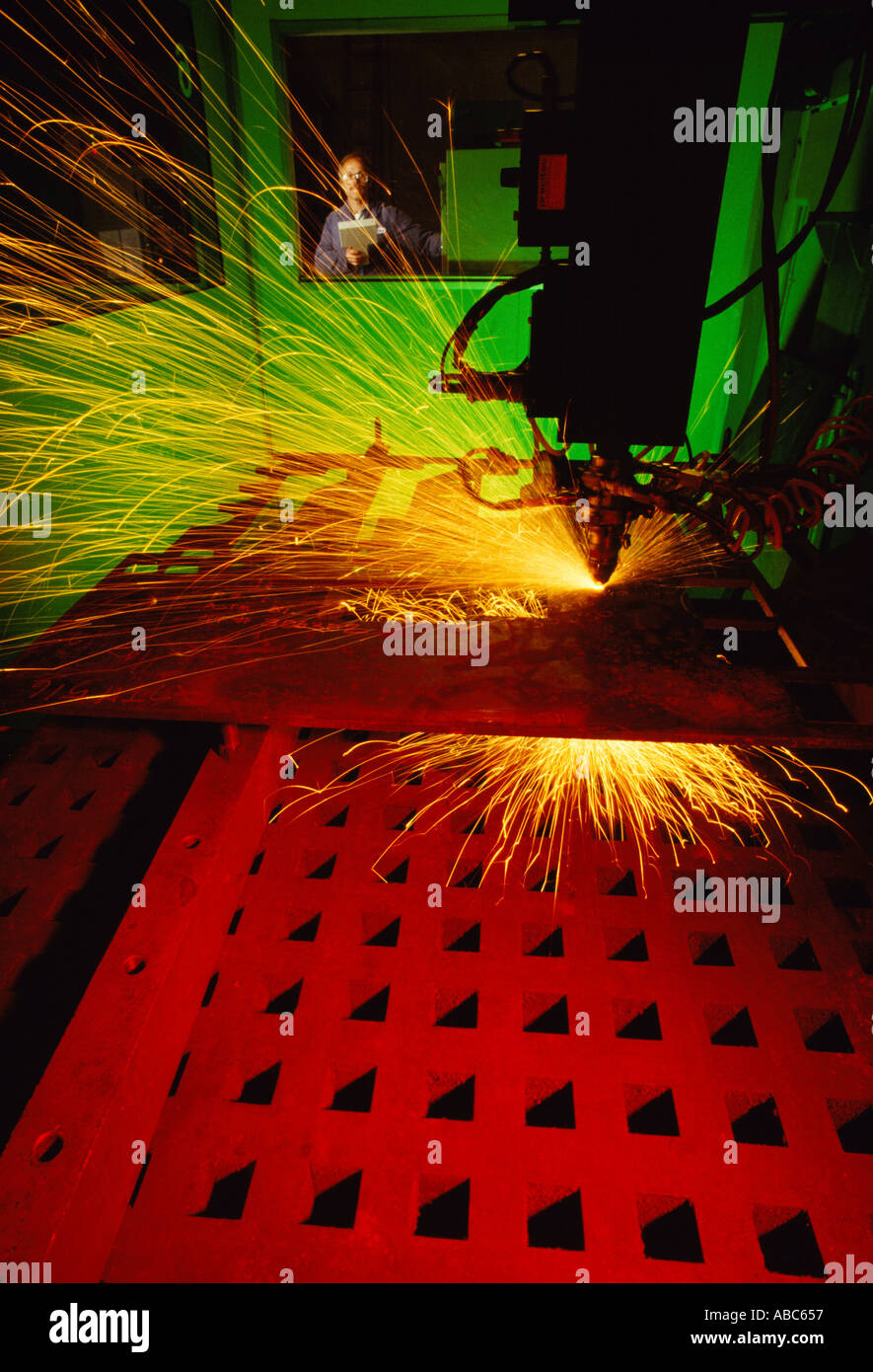 Construction - Precision laser welding procedure on missile launch tube parts at a military contract weapons production facility - Stock Image