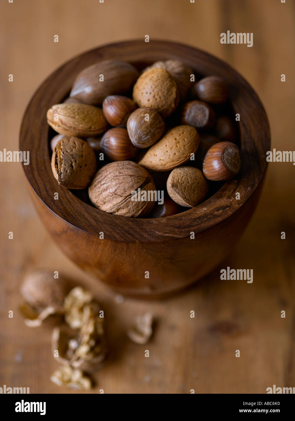 Mixed nuts in wooden bowl - high end Hasselblad 61mb digital image - Stock Image