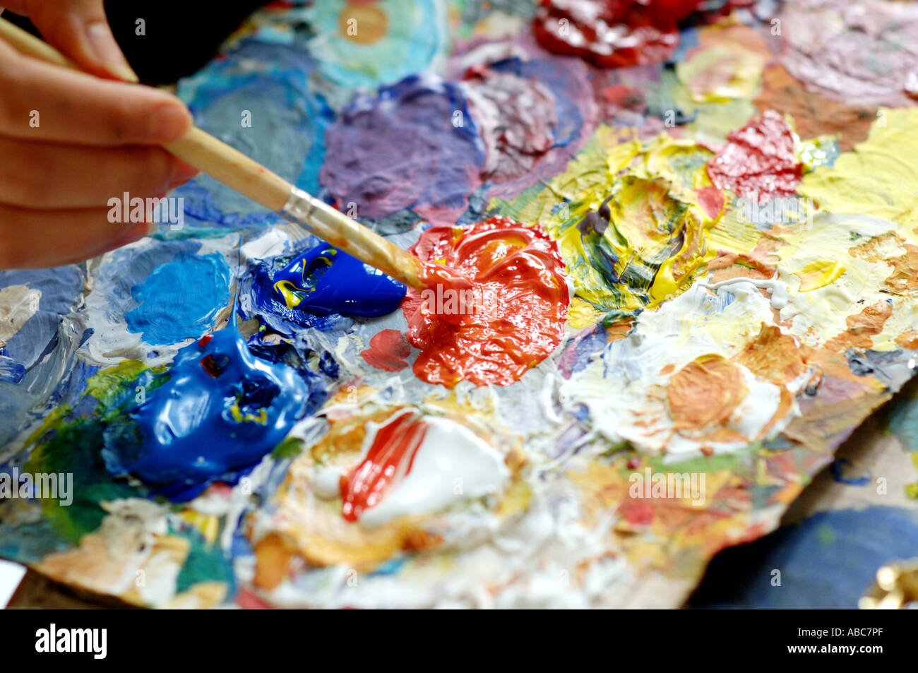 Painting with acrylic colour - Stock Image