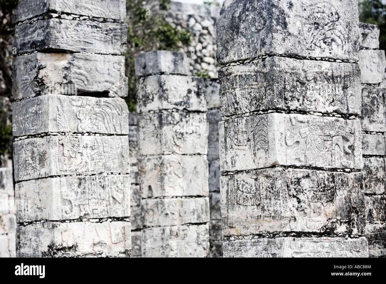 temple of the jaguar warrior of Chichen Itza in the yucatan was a Maya city and one of the greatest religious center - Stock Image