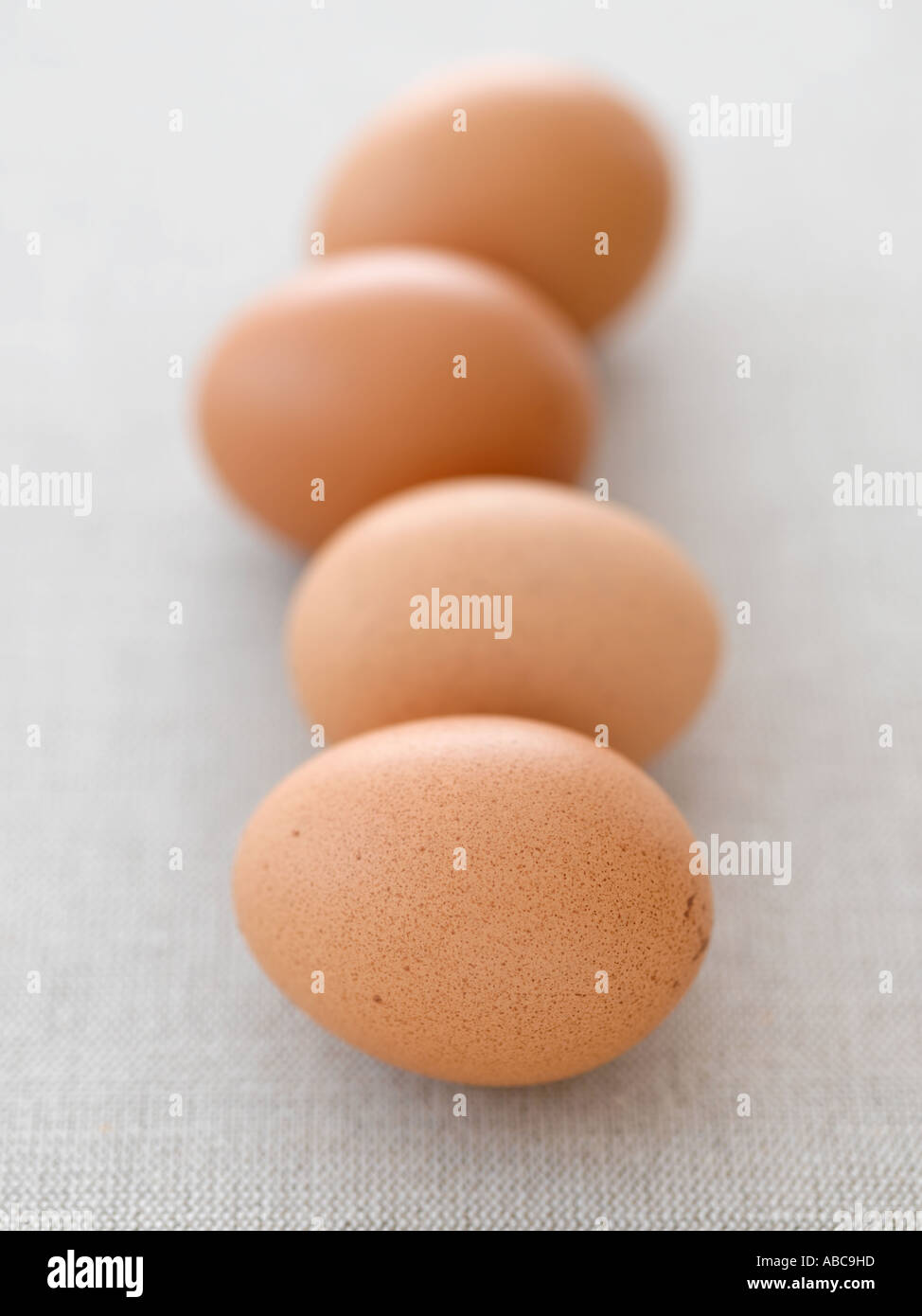 Eggs on pale linen - high end Hasselblad 61mb digital image Stock Photo