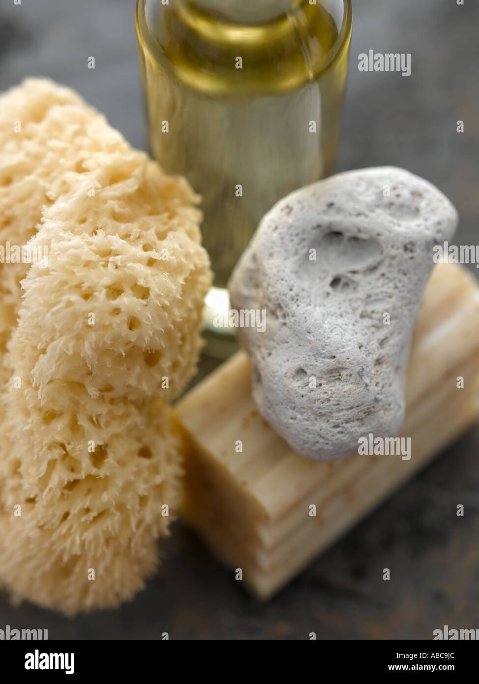 Sponge pumice oatmeal soap and bath oil - high end Hasselblad 61mb digital image - Stock Image