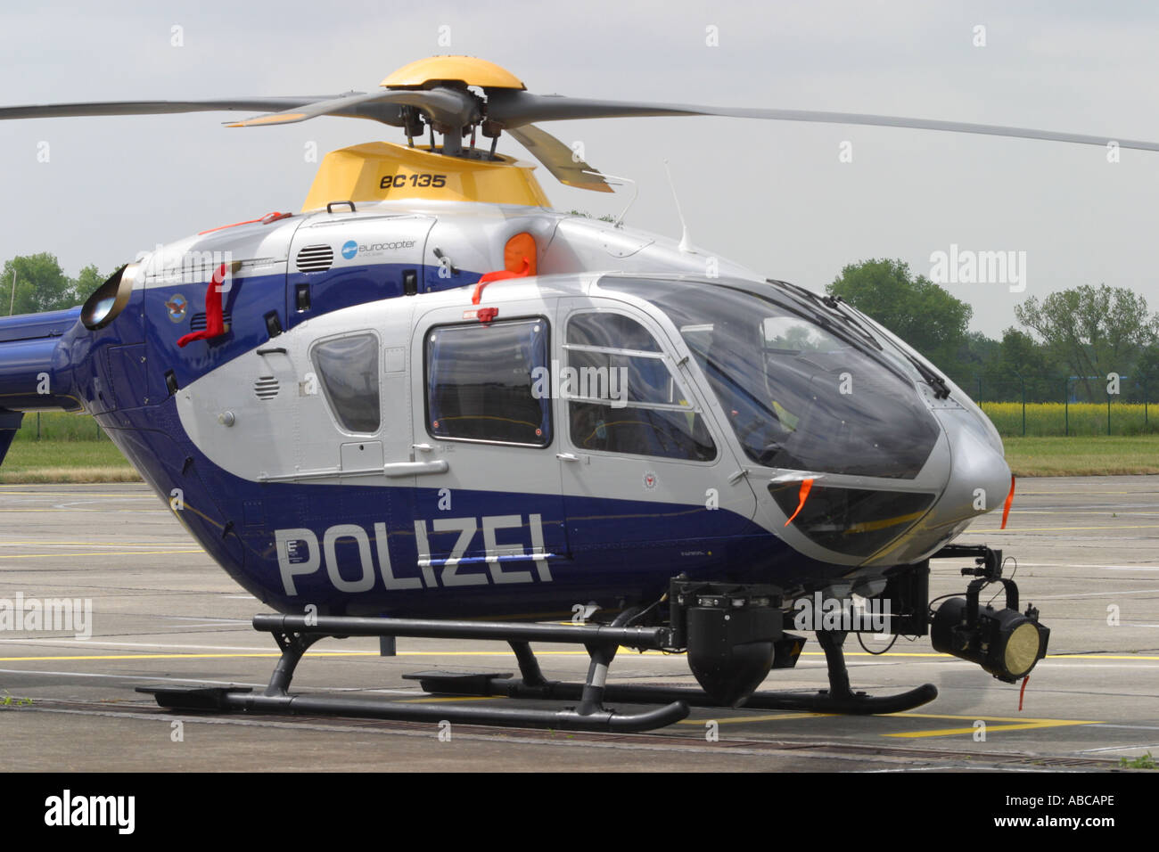 German Police Polizei Eurocopter EC-135 observation and patrol helicopter - Stock Image