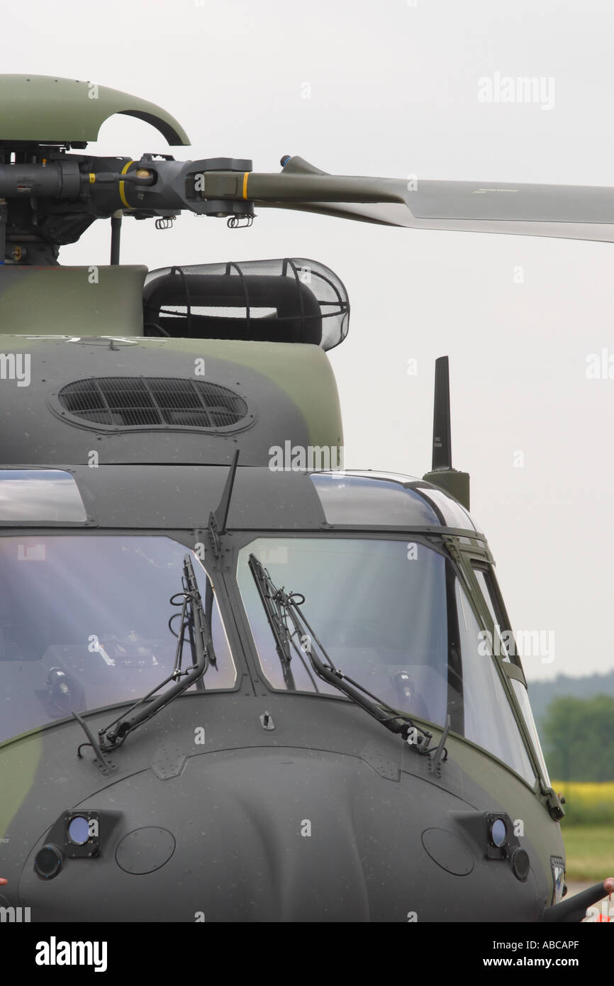 NH-90 Military helicopter cockpit and rotor blades of the NHI NH-90 troop transporter - Stock Image