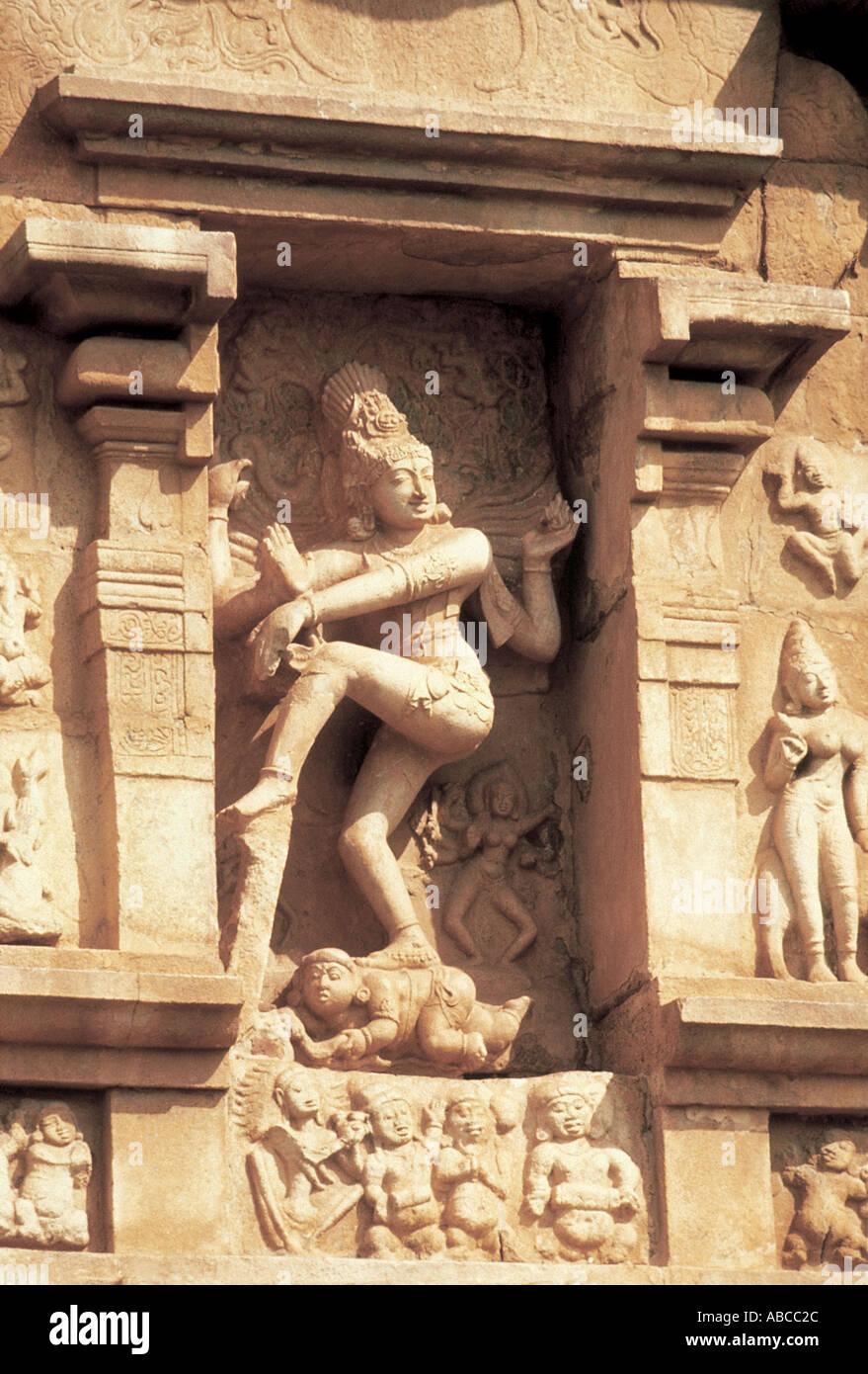 South wall of the Gangaikondacholapuram Erihadesvara Temple Shiva is depicted as Natraja Gangaikondacholapuram Tamilnadu India - Stock Image