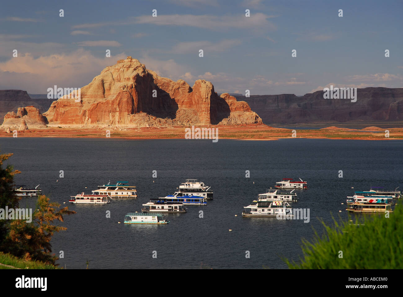 Arizona Lake Powell Resort Wahweap Marina Houseboat Outdoor Stock