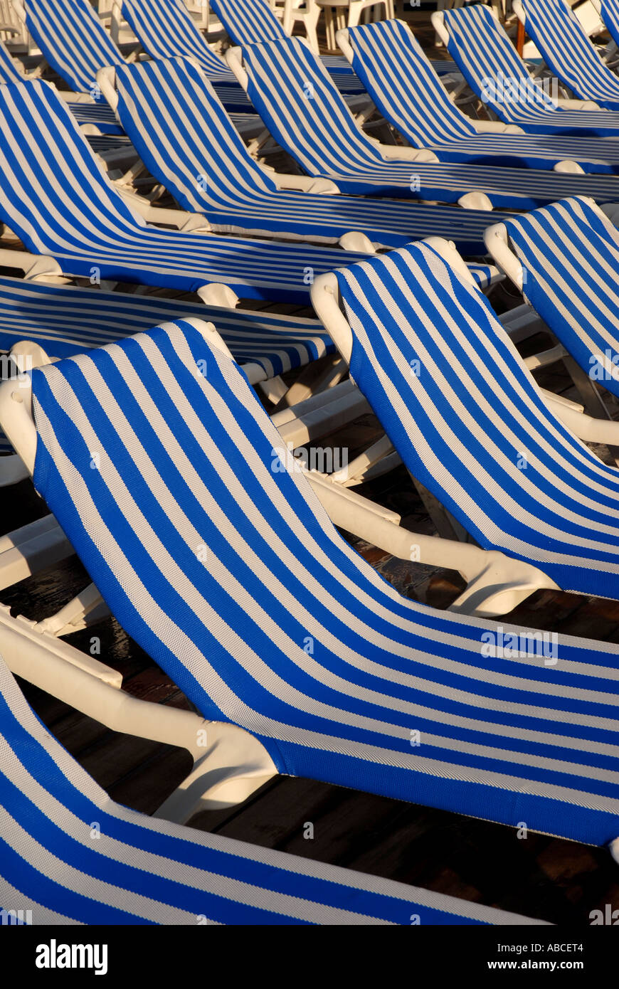 Tremendous Lounge Deck Pool Chairs Empty Blue White Stripes Stock Photo Cjindustries Chair Design For Home Cjindustriesco