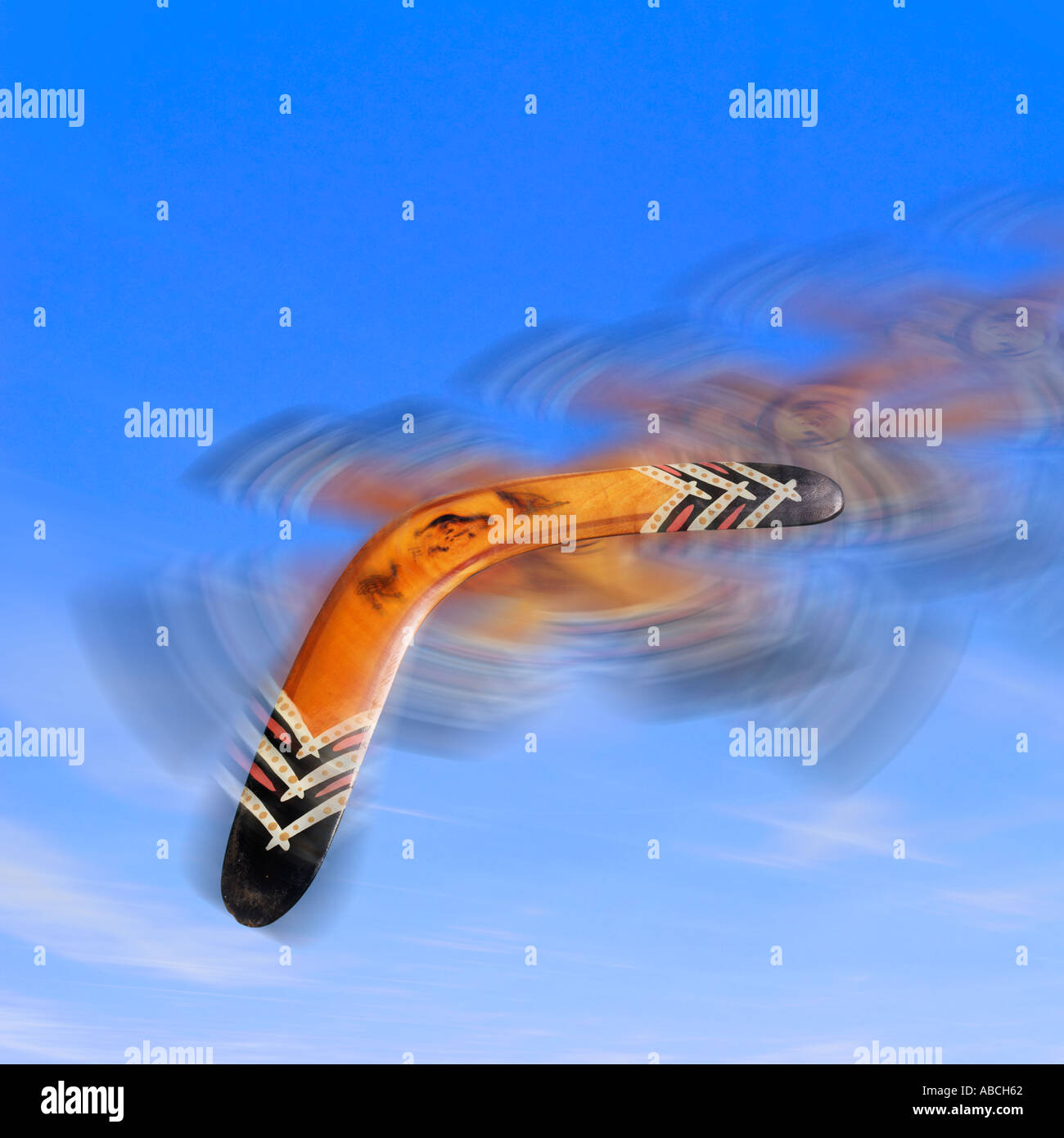 Flying boomerang - Stock Image