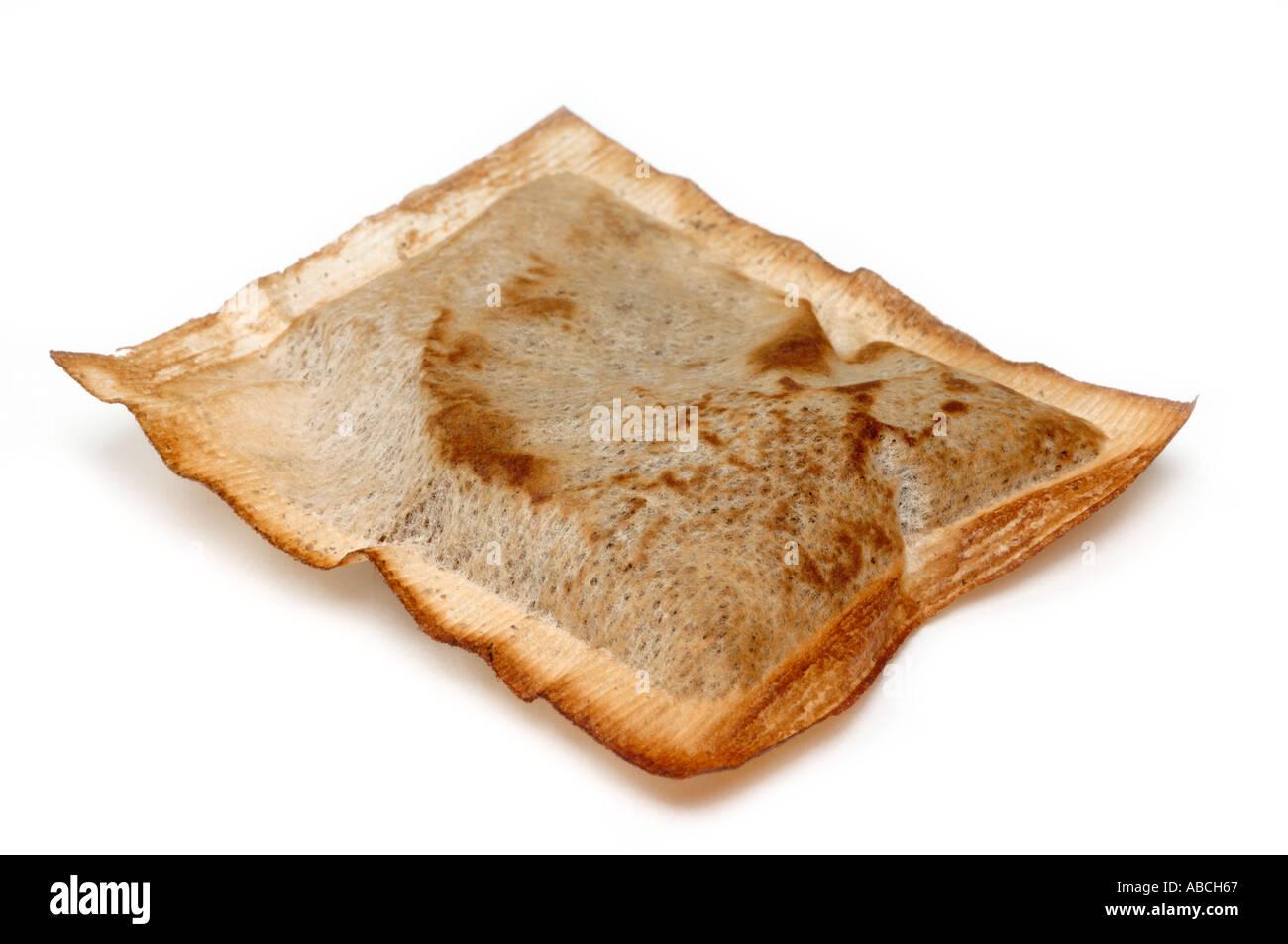 Dried old tea bag - Stock Image