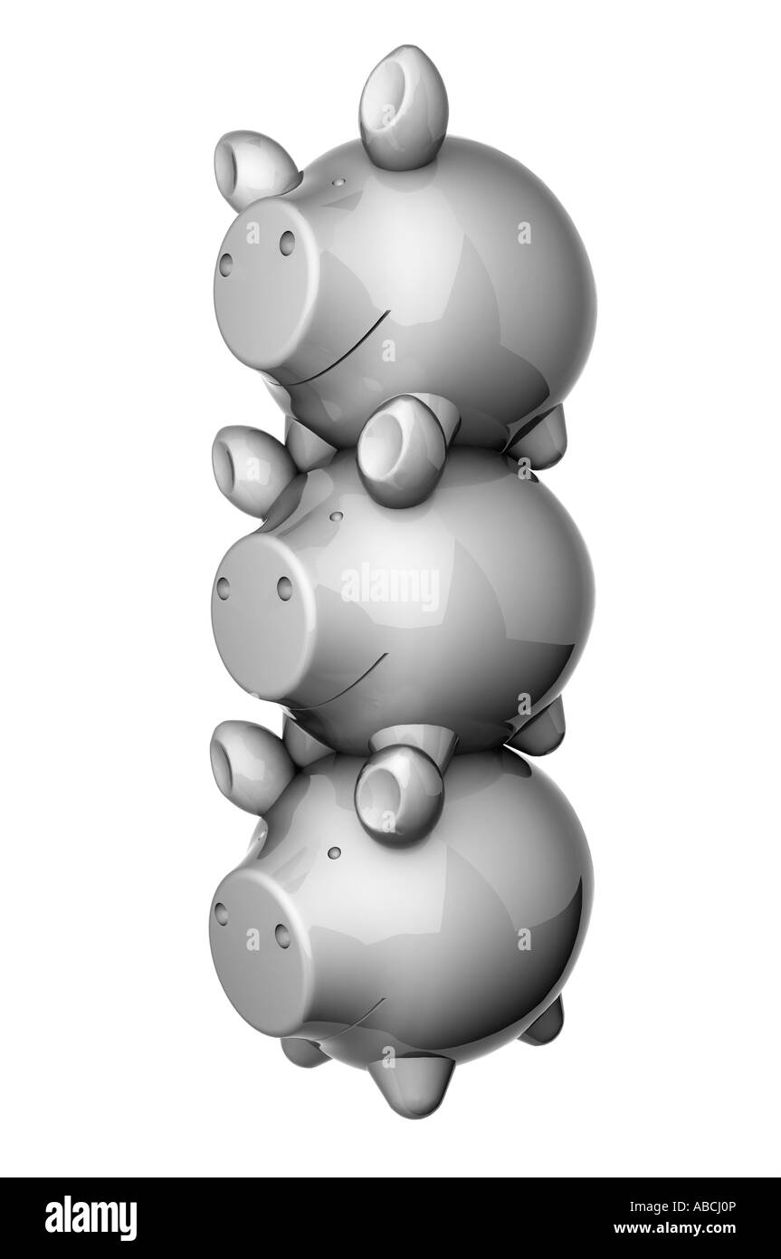 Stack of 3 grey metallic shiny piggy banks - Stock Image