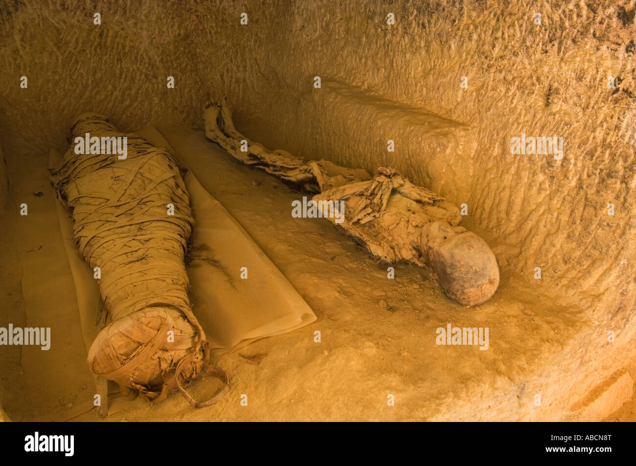 mummies in a tomb on the mountain of the dead, Siwa oasis, the Great Sand Sea, Western desert, Egypt - Stock Image