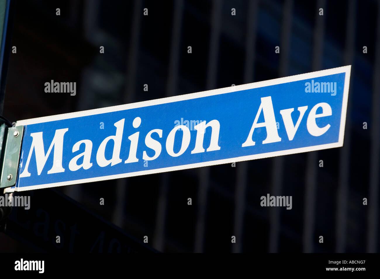 Madison avenue street sign - Stock Image
