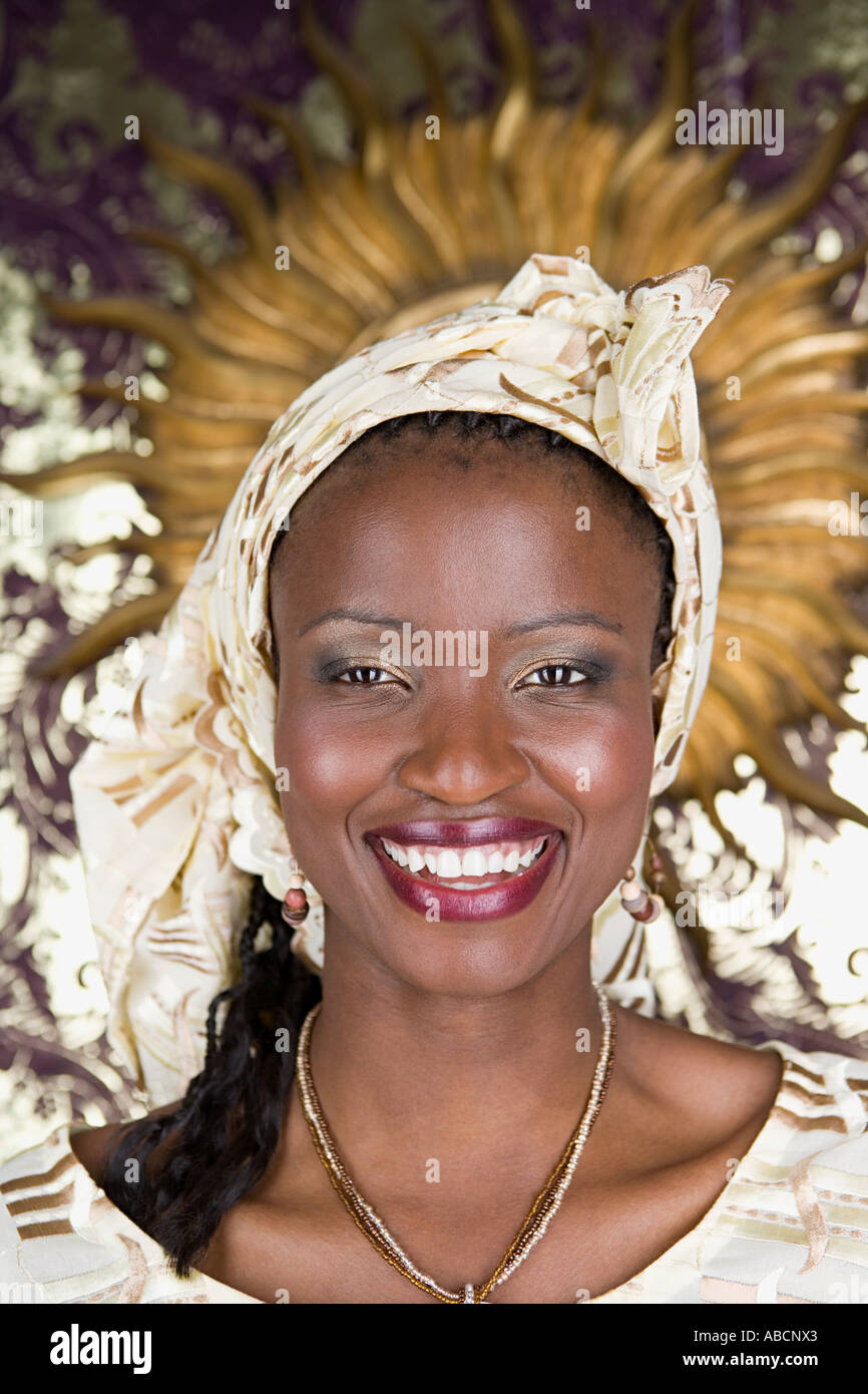 Portrait of a jamaican woman - Stock Image