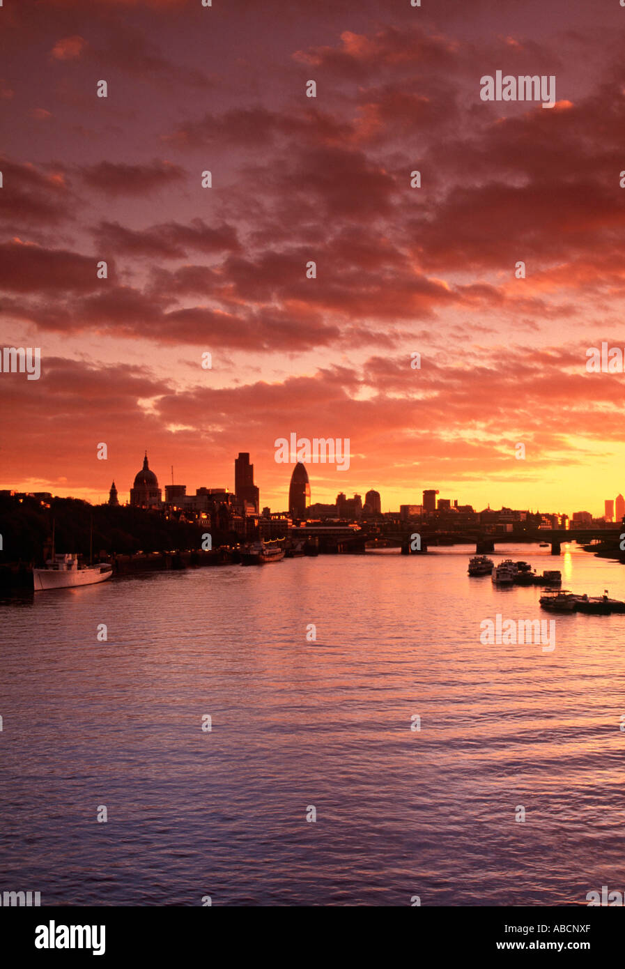 City of London & River Thames, London, England Stock Photo