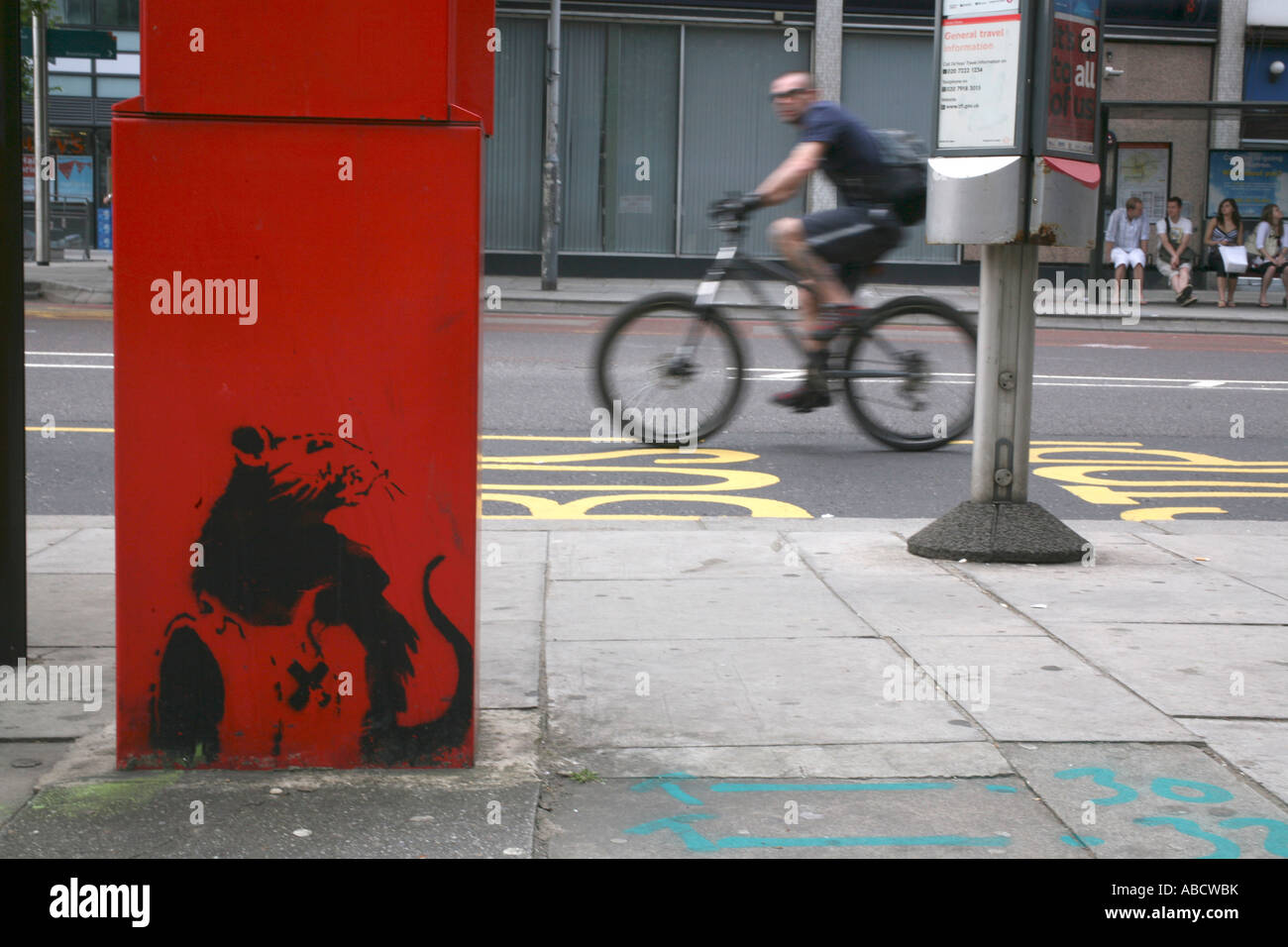 Banksy TOXIC RAT stencil, Euston, London - Stock Image