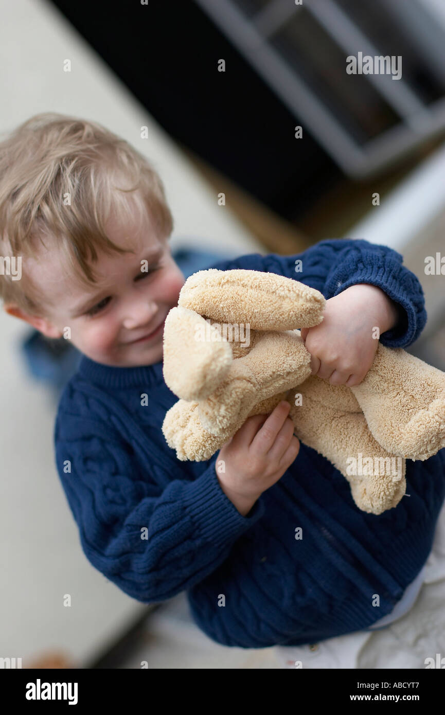boy with soft toy Stock Photo