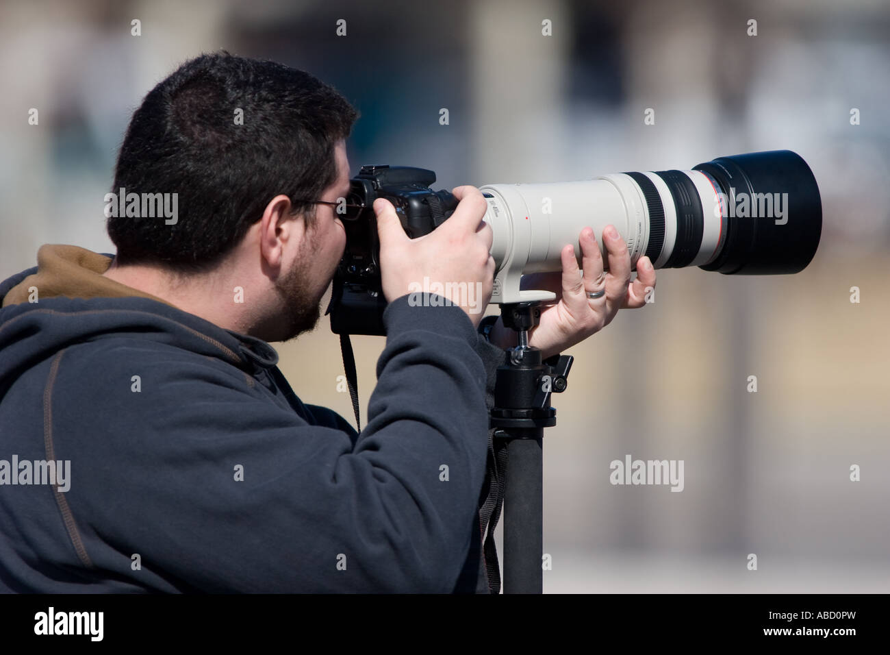 A photographer holds up a Canon 100-400L telephoto lens on an EOS 20D camera. - Stock Image