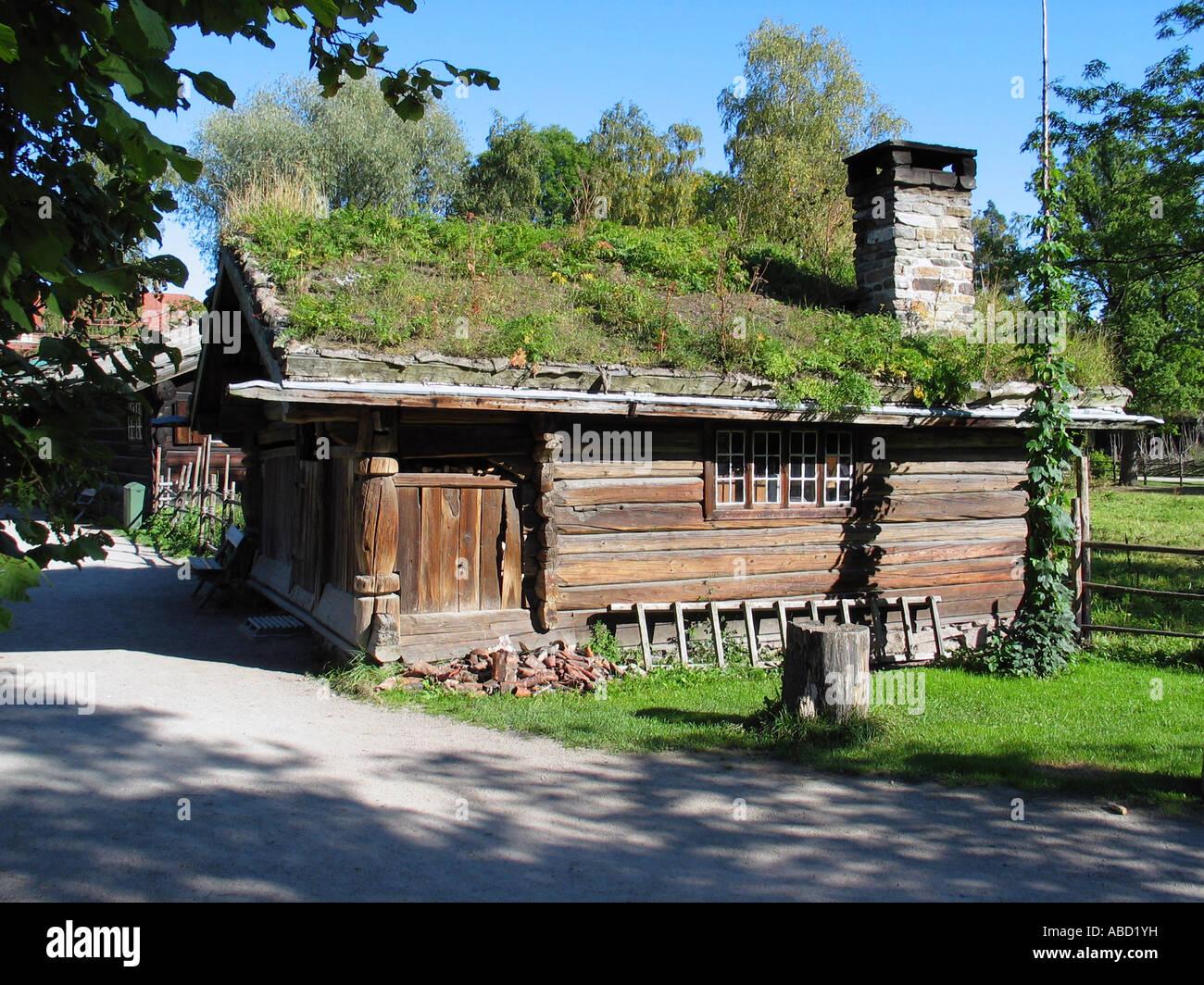 Old house like it was once in Norway, Norwegian folk museum, Oslo, Norway Stock Photo