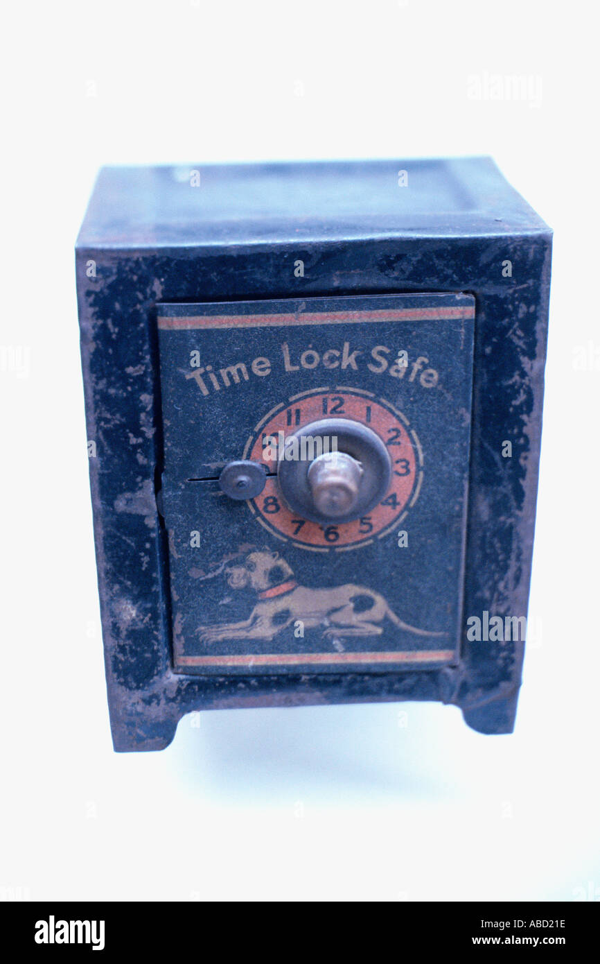 Blue time lock safe - Stock Image